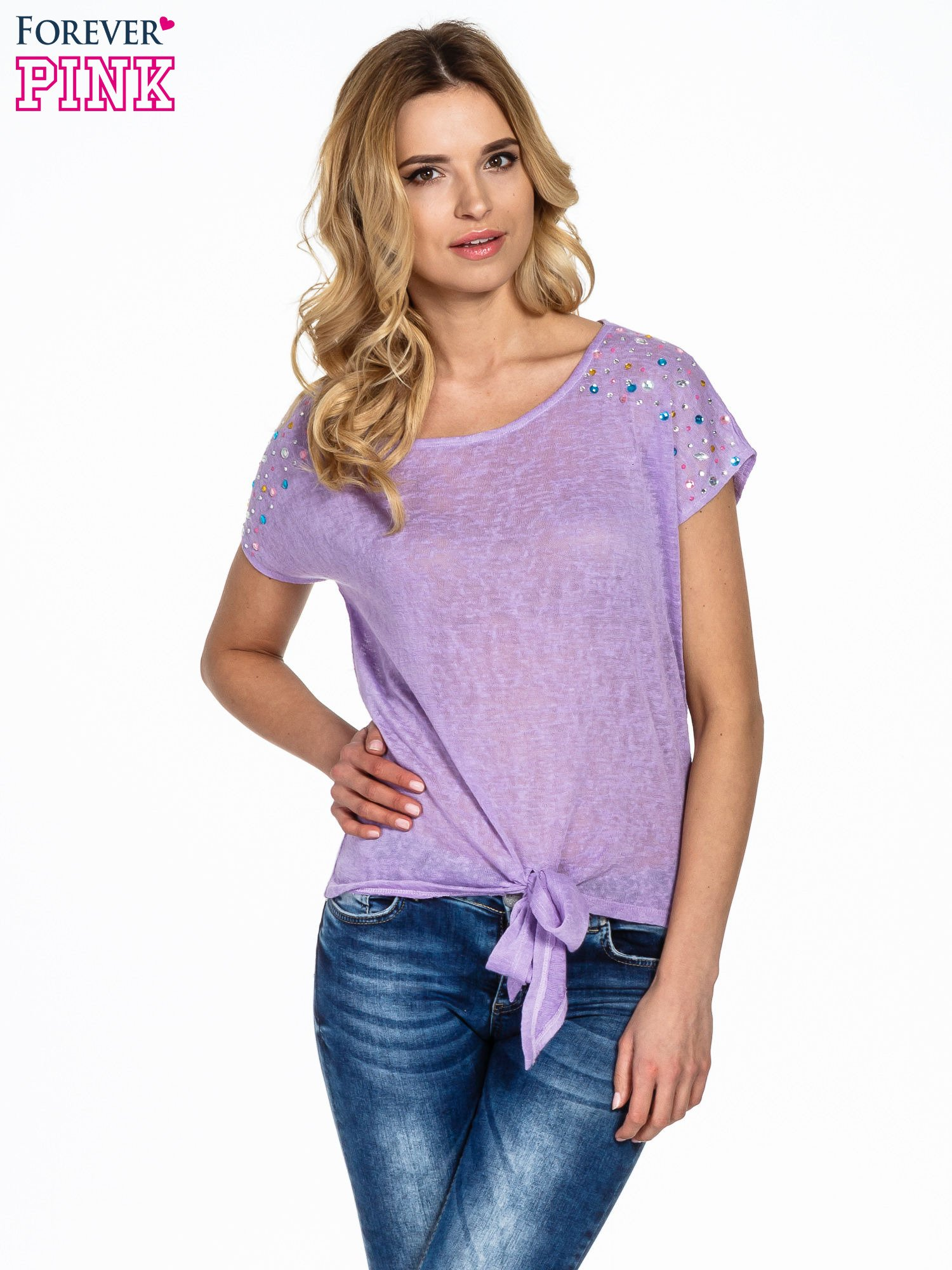 Fioletowy t-shirt z węzłem zdobiony kryształkami                                  zdj.                                  1
