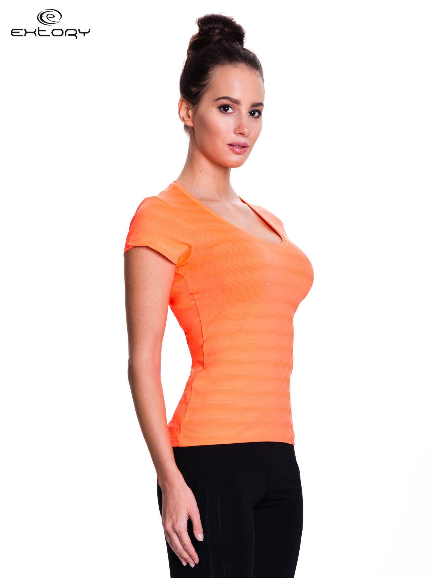Fluopomarańczowy t-shirt sportowy w paseczki                                  zdj.                                  3