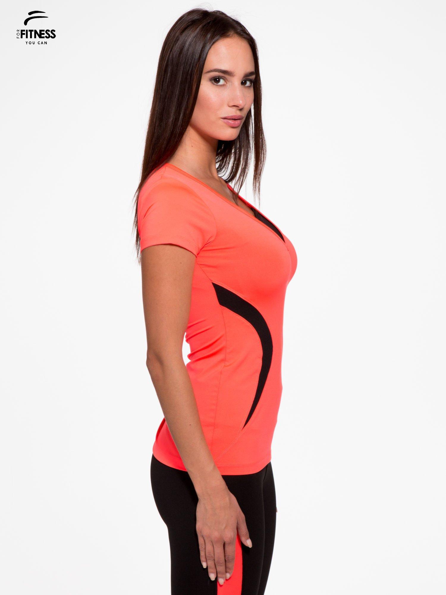 7d2256ca27f3b3 2; Fluoróżowy termoaktywny t-shirt sportowy z siateczką przy dekolcie ♢ Performance  RUN ...