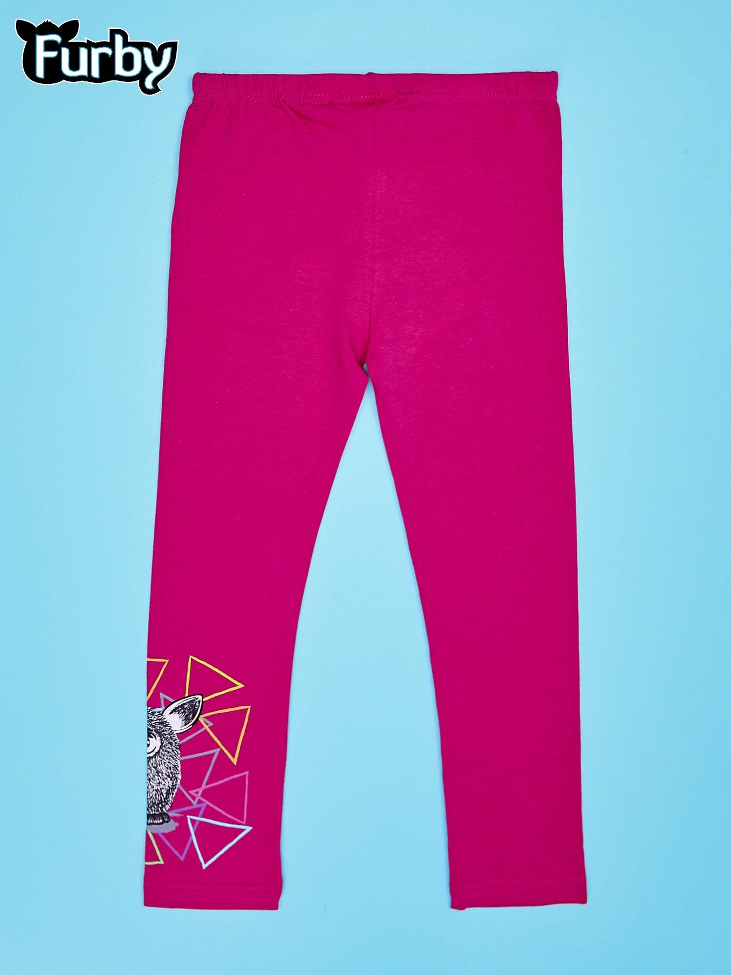 Fuksjowe legginsy dla dziewczynki z motywem FURBY                                  zdj.                                  2