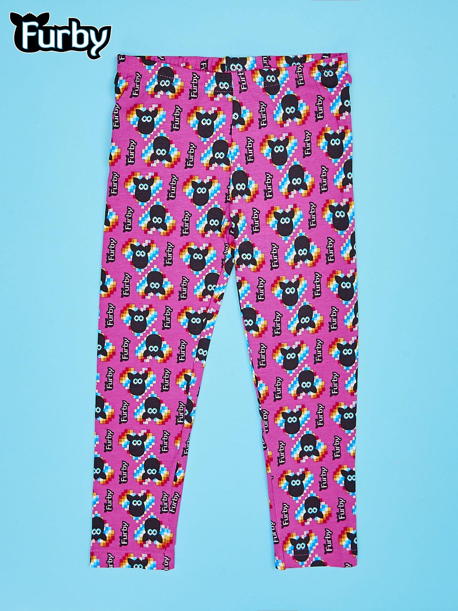 Fuksjowe legginsy dla dziewczynki z nadrukiem FURBY                                  zdj.                                  1