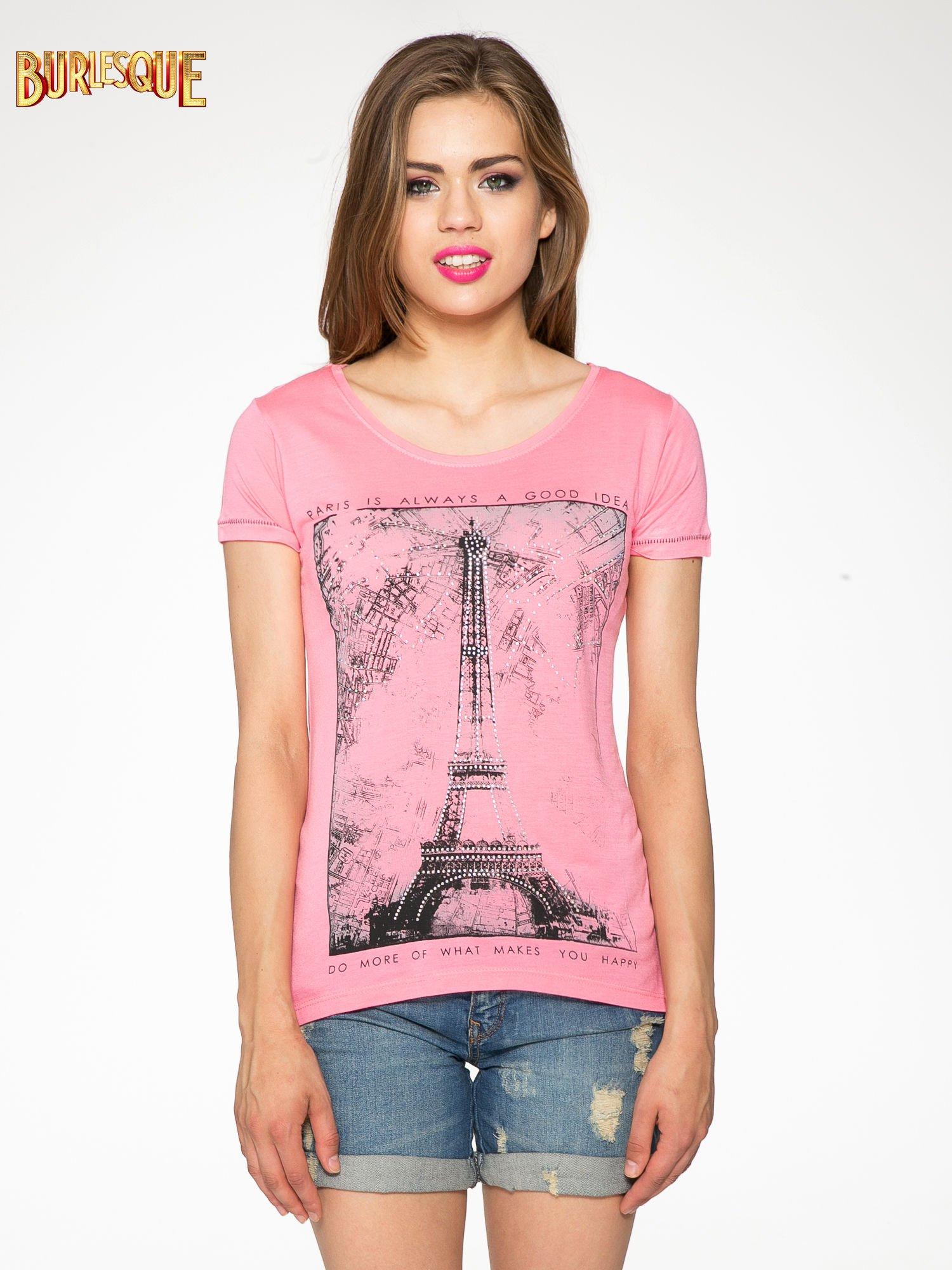 Fuksjowy t-shirt z nadrukiem wieży Eiffla                                  zdj.                                  10
