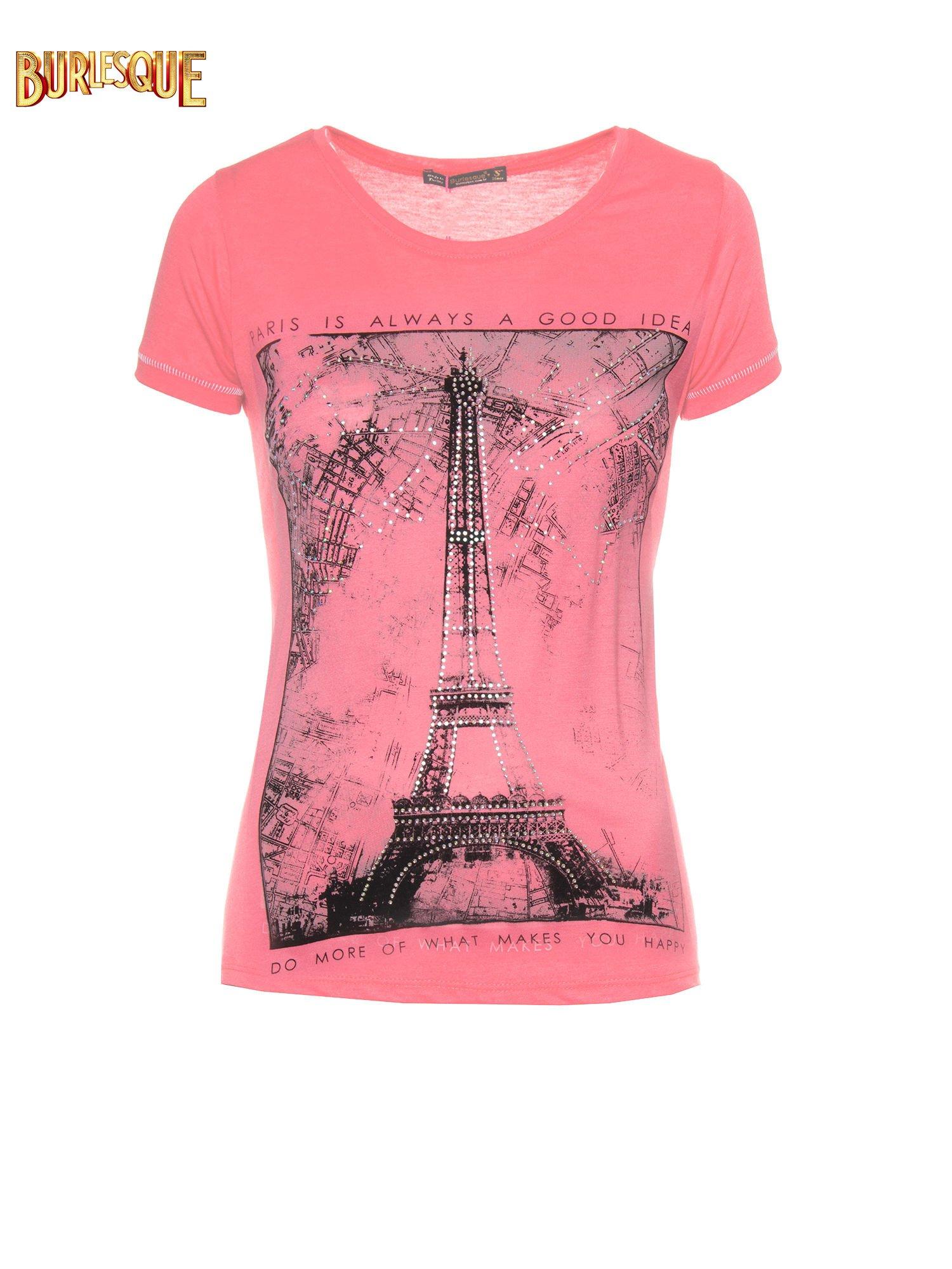 Fuksjowy t-shirt z nadrukiem wieży Eiffla                                  zdj.                                  1
