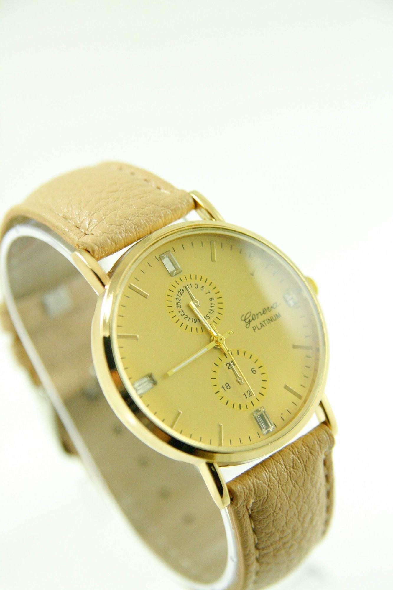 GENEVA Beżowy zegarek damski na skórzanym pasku                                  zdj.                                  2