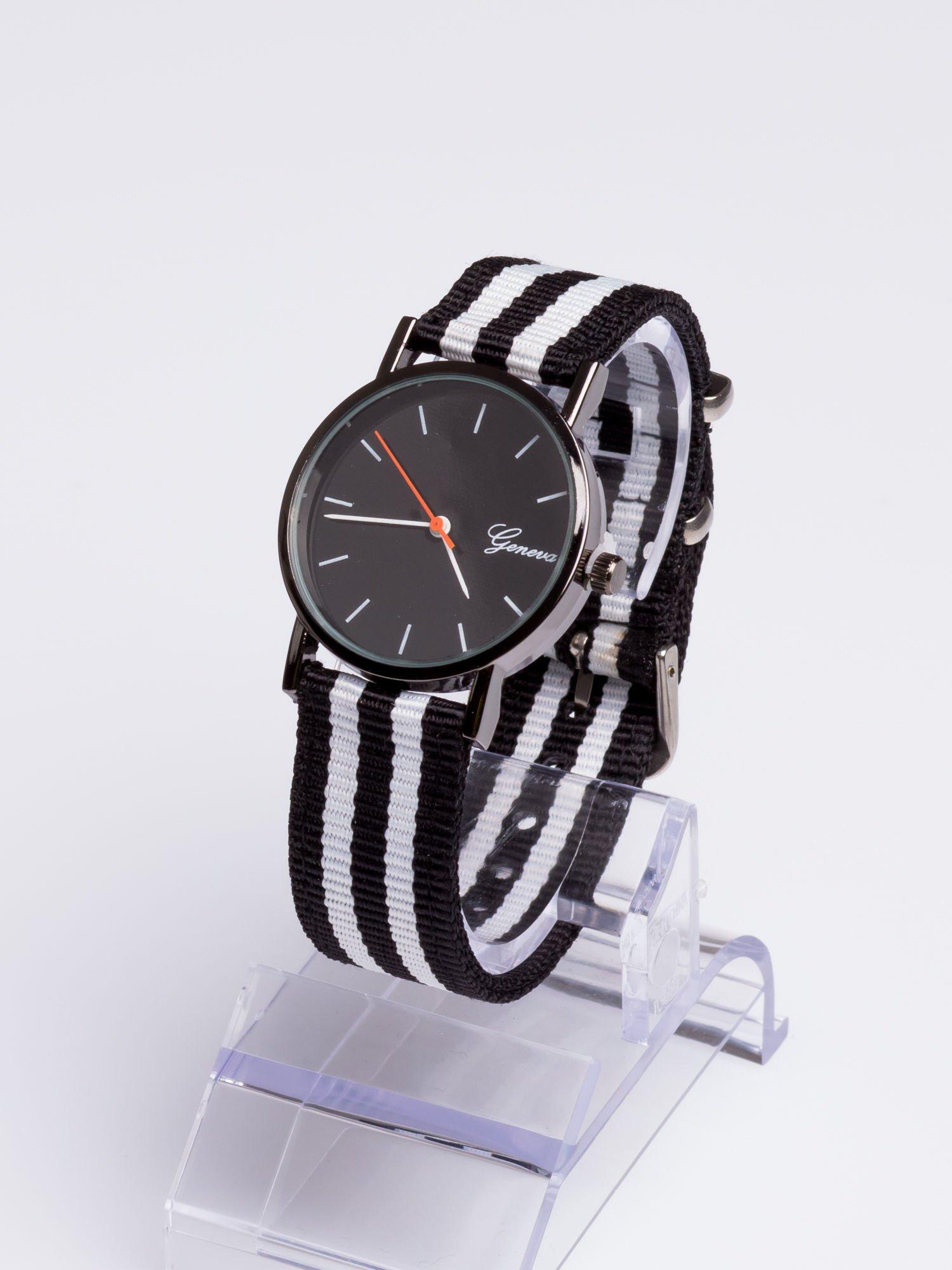 GENEVA Czarny zegarek unisex z modnym materiałowym kolorowym paskiem                                  zdj.                                  2