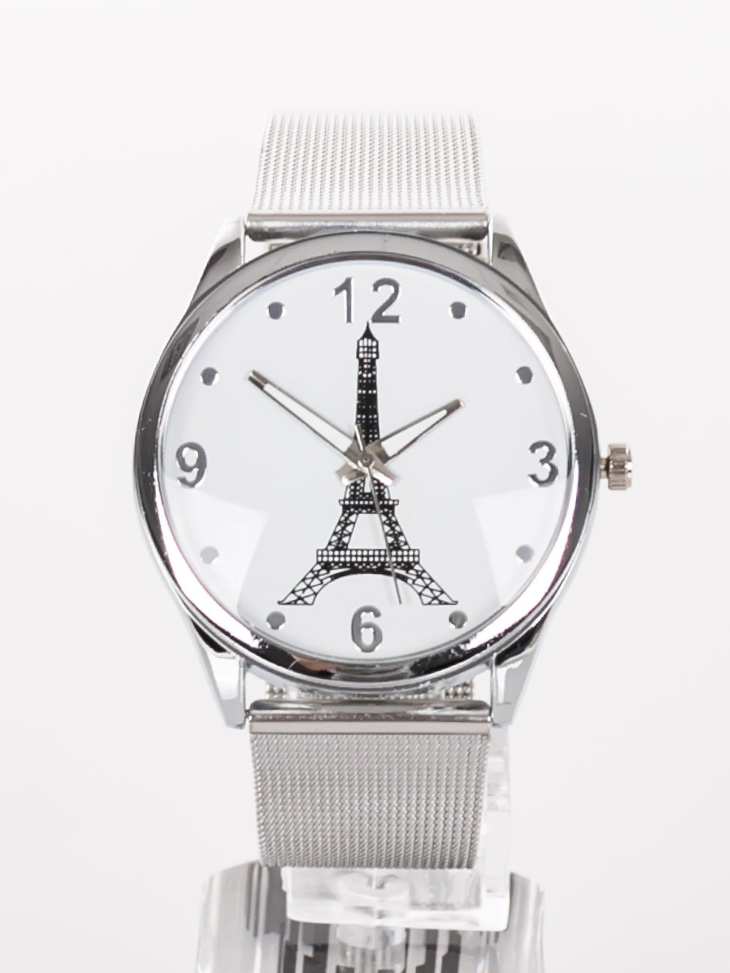 d89e823c91000c GENEVA Eiffel Tower -Klasyka i elegancja srebrny damski zegarek z biała  tarczą ...
