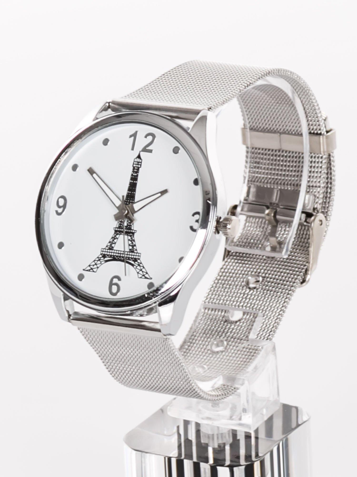 f09fbe14ef7c7f 1; GENEVA Eiffel Tower -Klasyka i elegancja srebrny damski zegarek z biała  tarczą ...