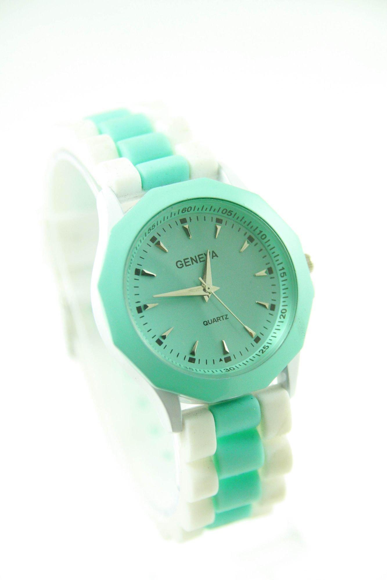 GENEVA Miętowo-biały zegarek damski na silikonowym pasku                                  zdj.                                  1