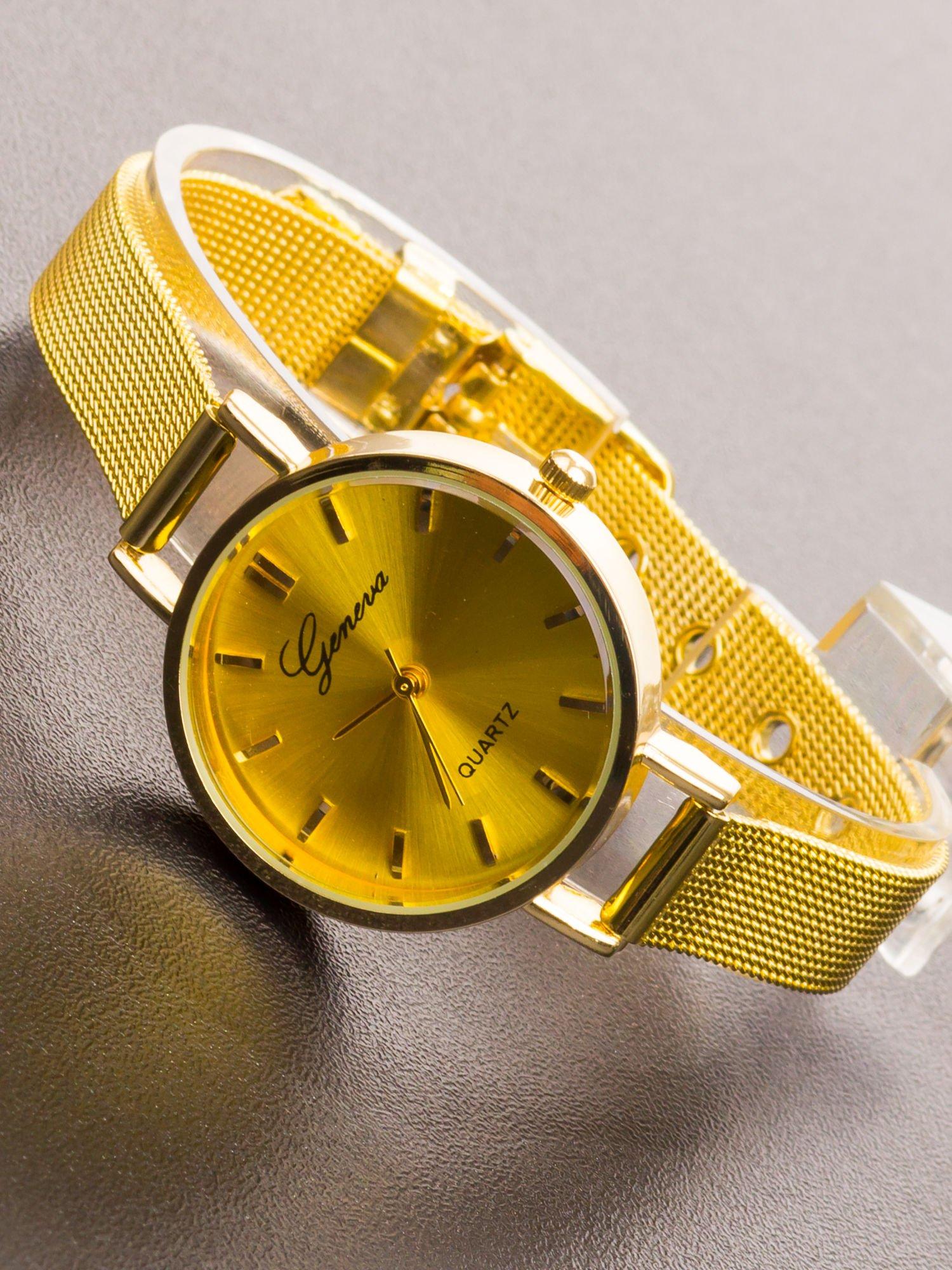 GENEVA Złoty prosty zegarek damski na bransolecie                                  zdj.                                  1