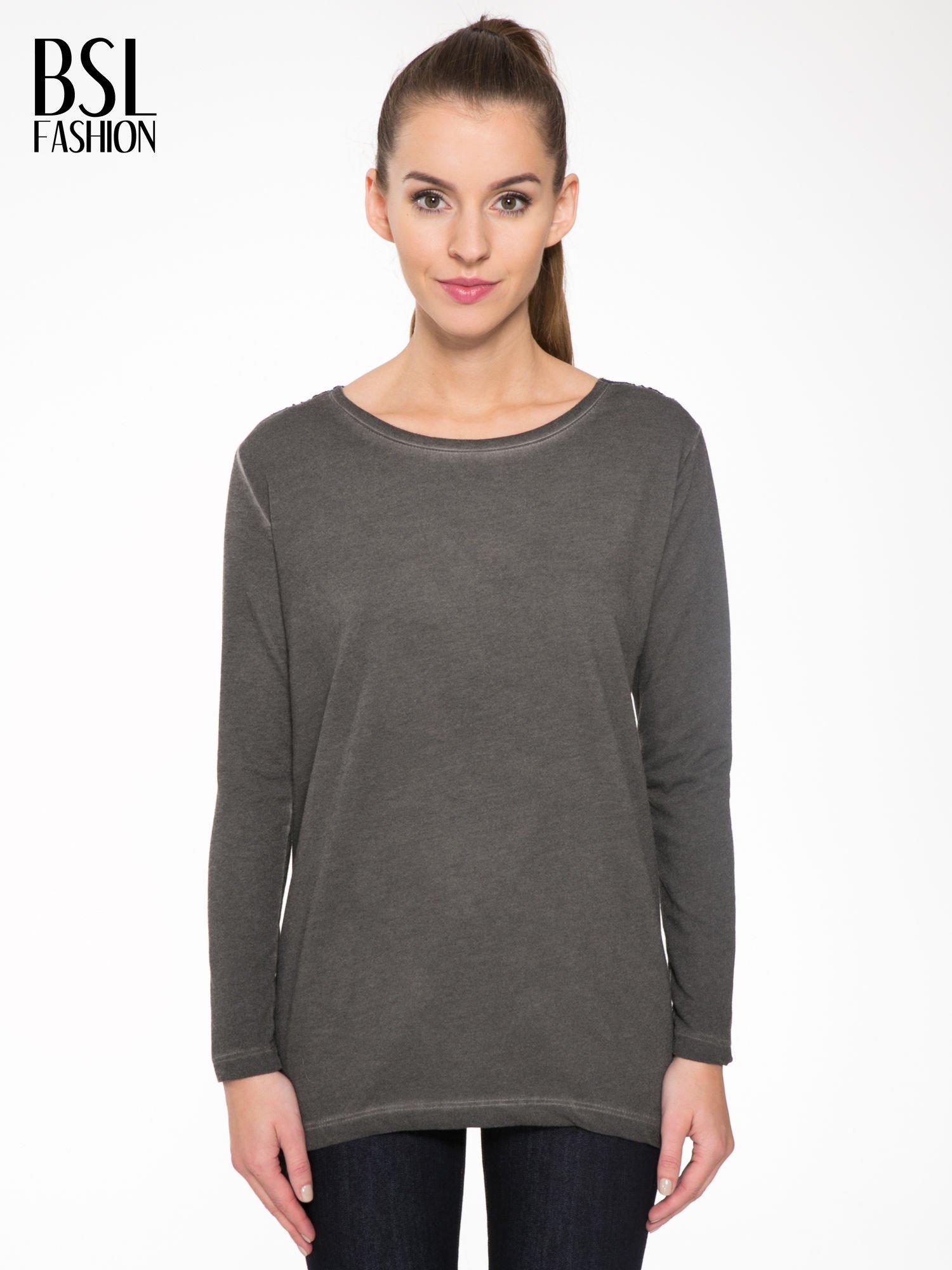 Grafitowa bluza z koronkową wstawką na plecach                                  zdj.                                  1