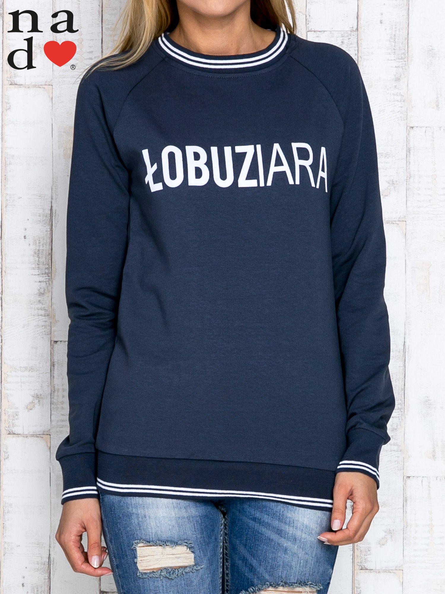 Grafitowa bluza z napisem ŁOBUZIARA                                  zdj.                                  1