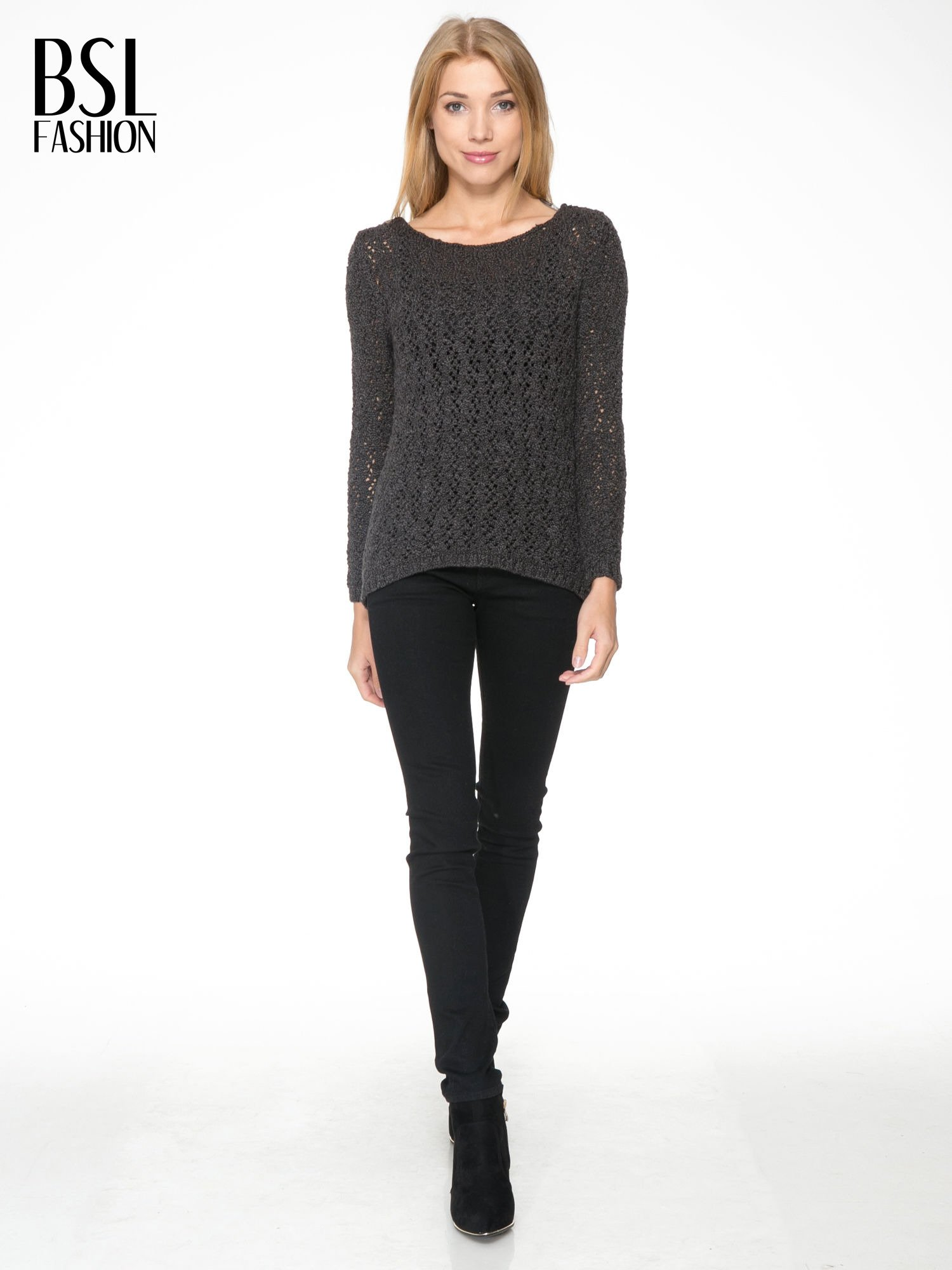 Grafitowy sweter o ażurowym splocie                                  zdj.                                  2
