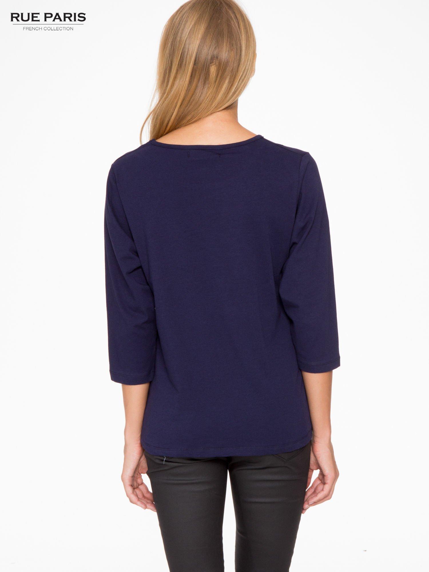 Granatowa basicowa bluzka z rękawem 3/4                                  zdj.                                  4