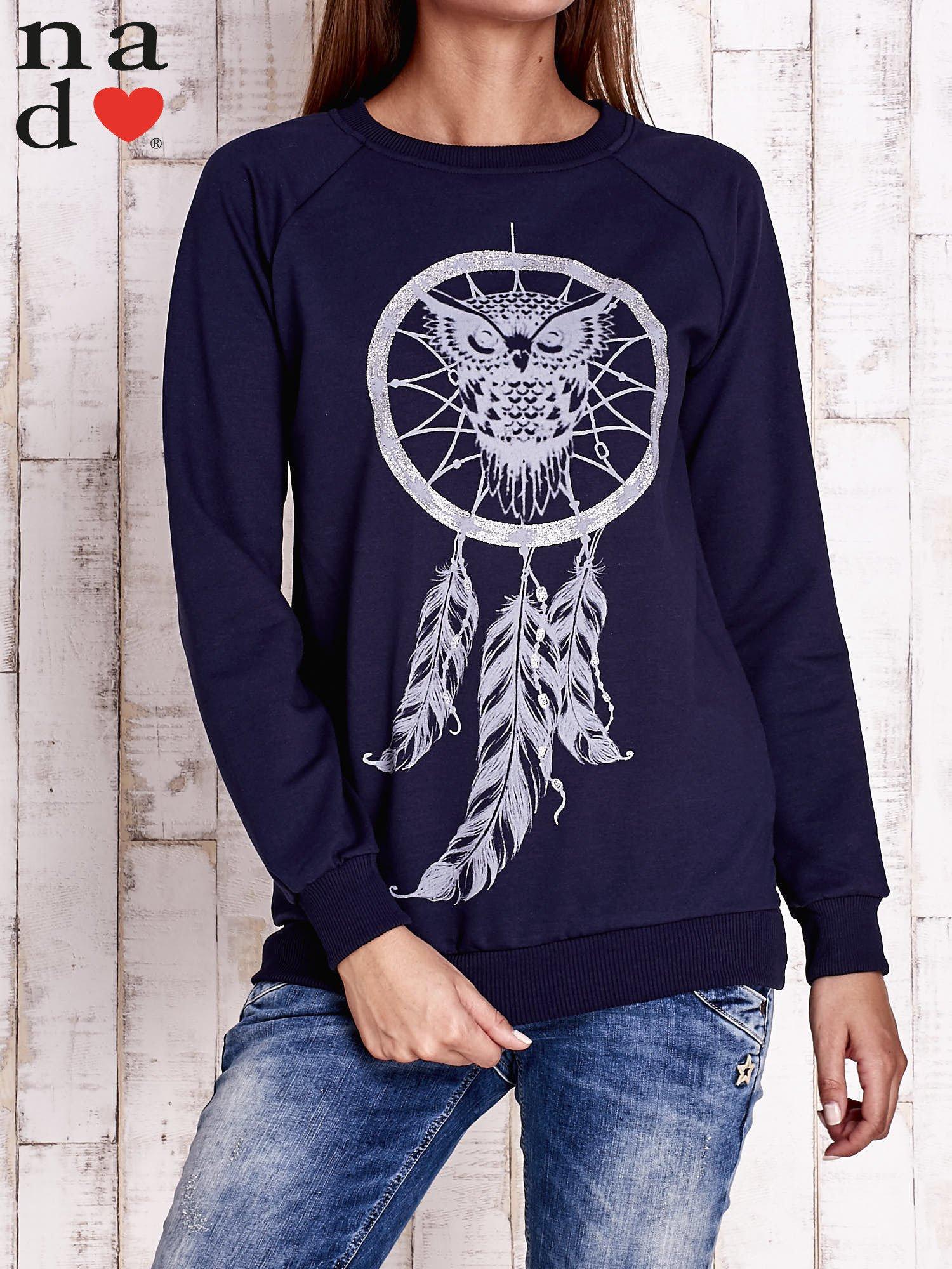 Granatowa bluza z motywem sowy i łapacza snów                                  zdj.                                  1