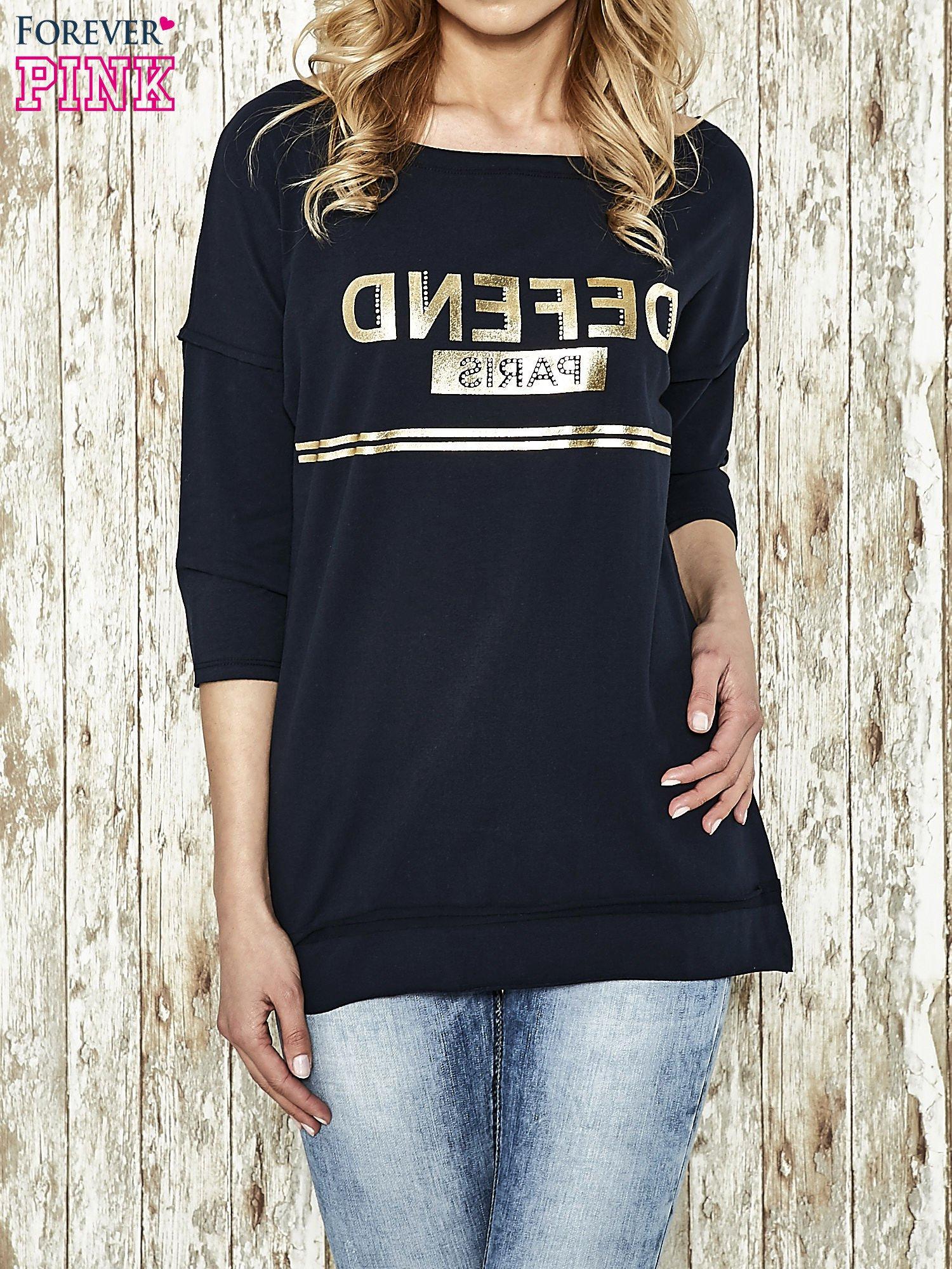 Granatowa bluza ze złotym napisem i suwakiem                                  zdj.                                  1