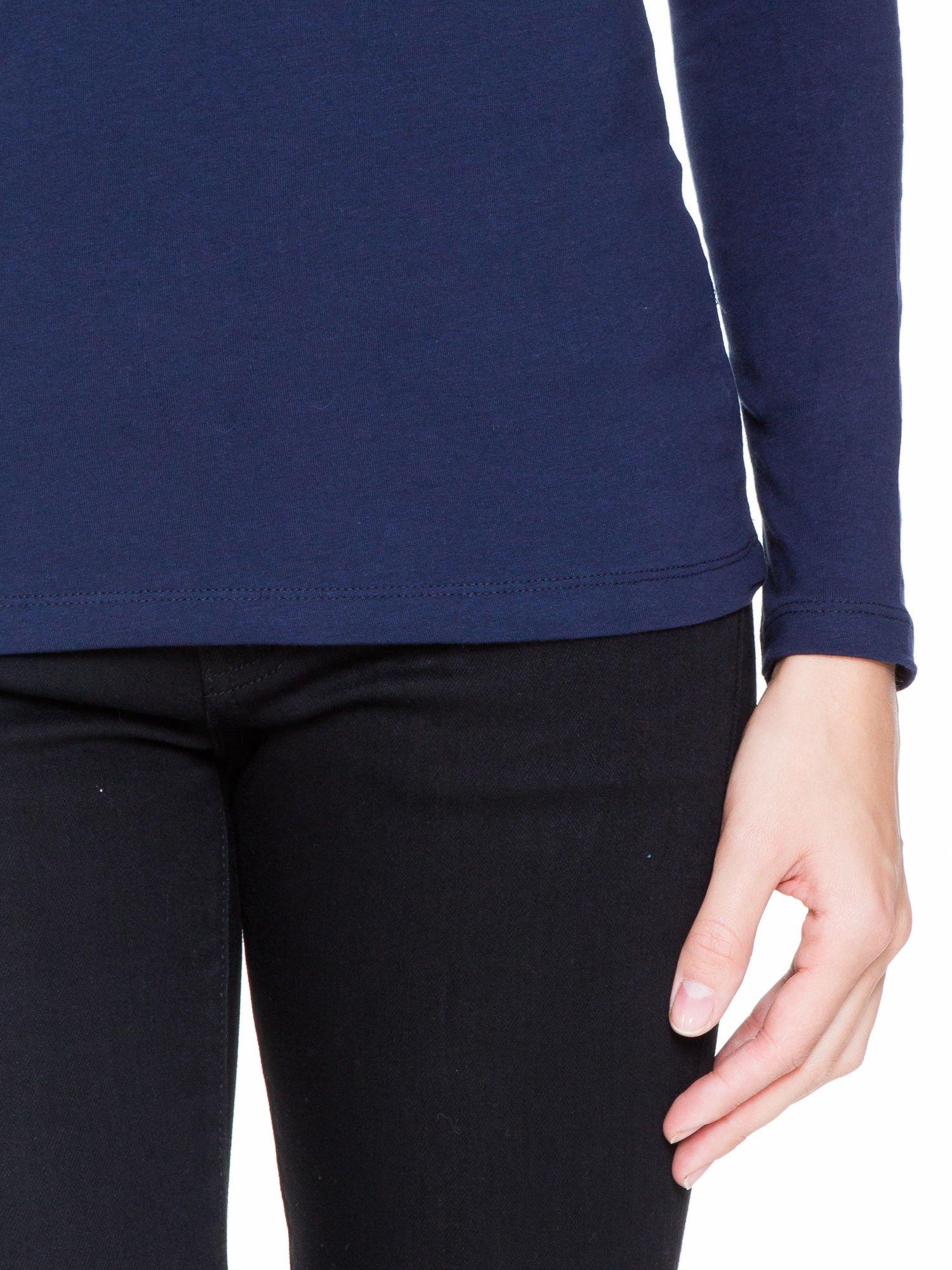 Granatowa bluzka z tiulowym karczkiem                                  zdj.                                  6