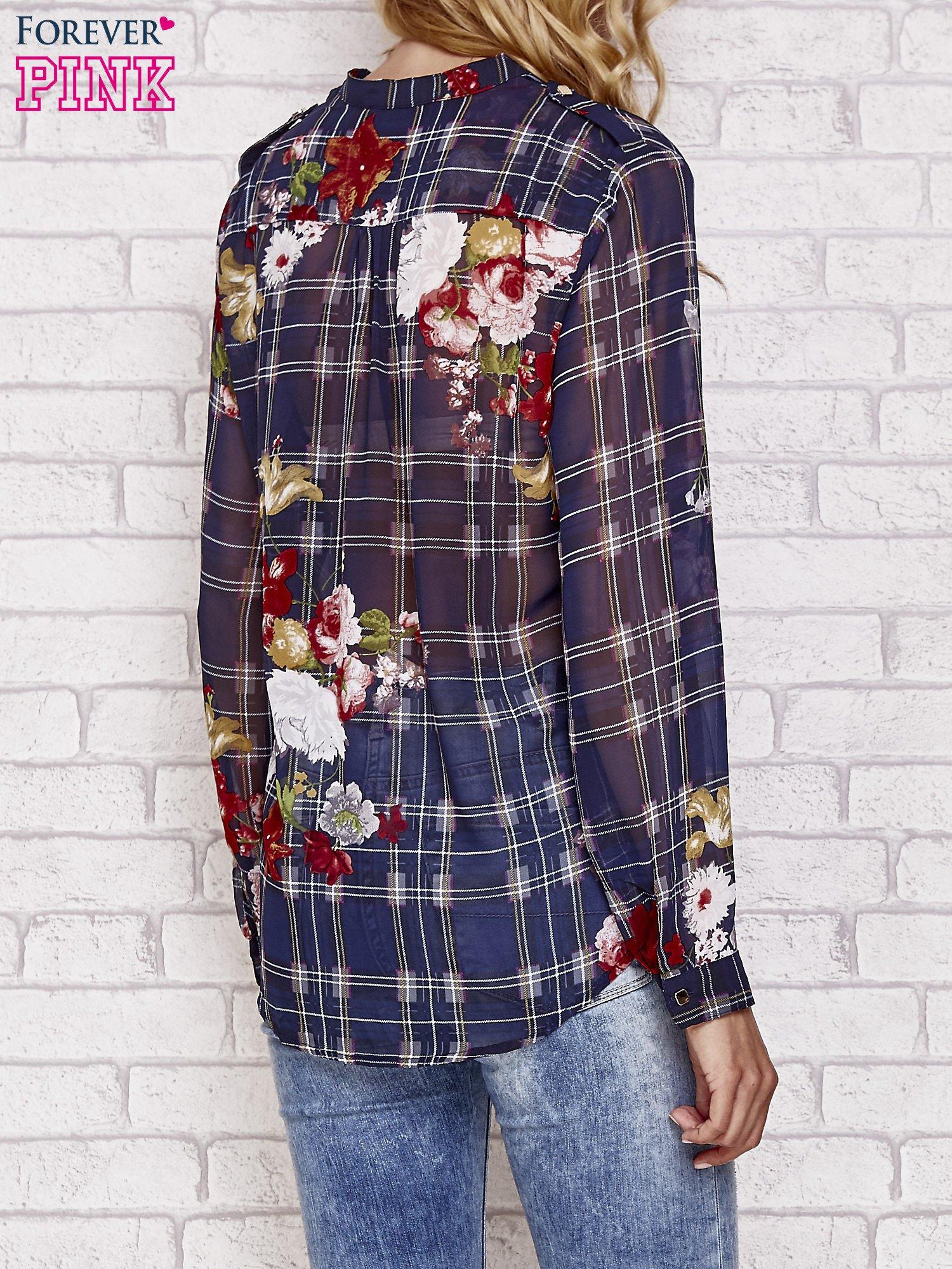 Granatowa koszula w kratę z kwiatami                                  zdj.                                  2