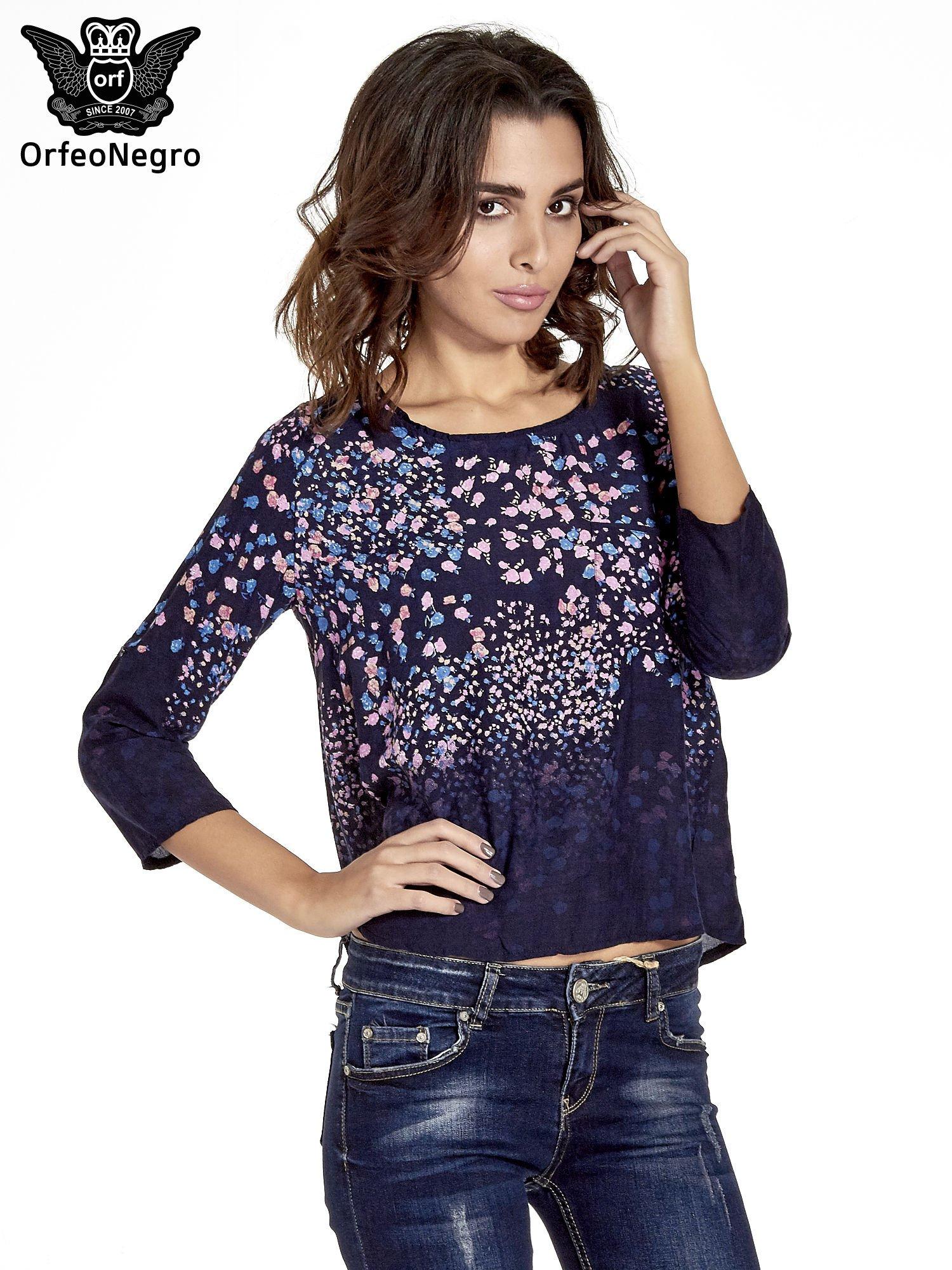 Granatowa koszula w łączkę z efektem ombre                                  zdj.                                  1