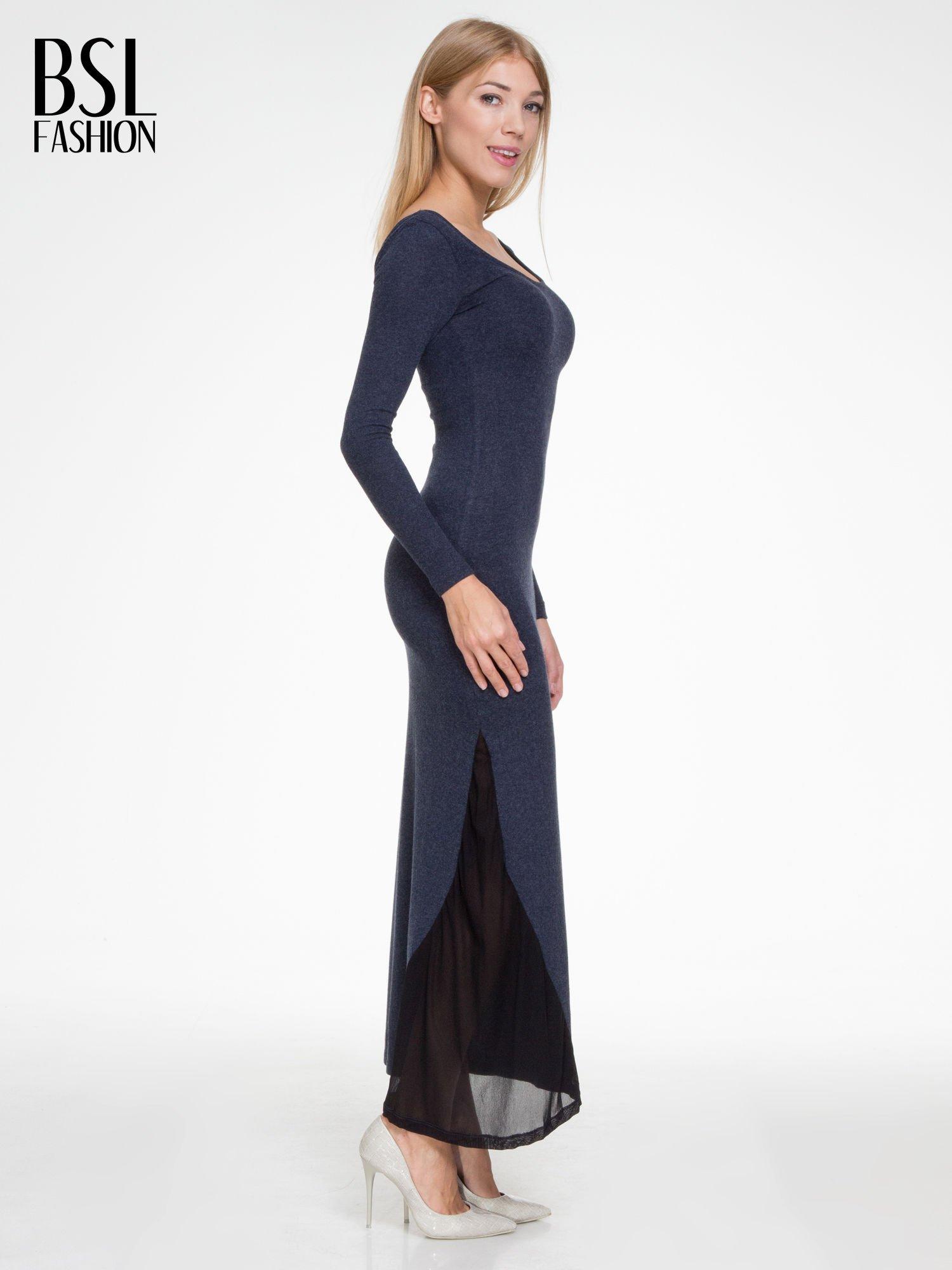Granatowa maxi sukienka z asymetryczną wstawką na dole z tiulu                                  zdj.                                  3