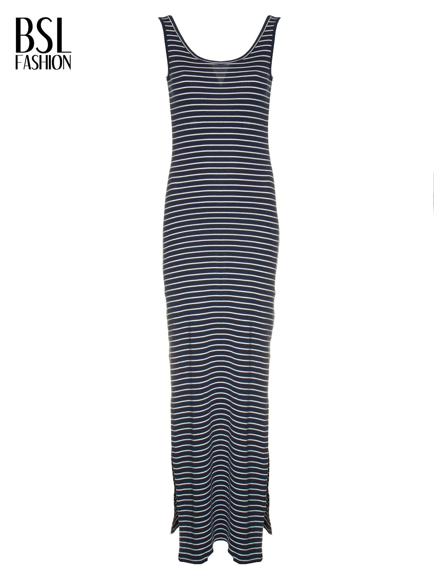 Granatowa prosta długa sukienka w paski z bawełny                                  zdj.                                  4