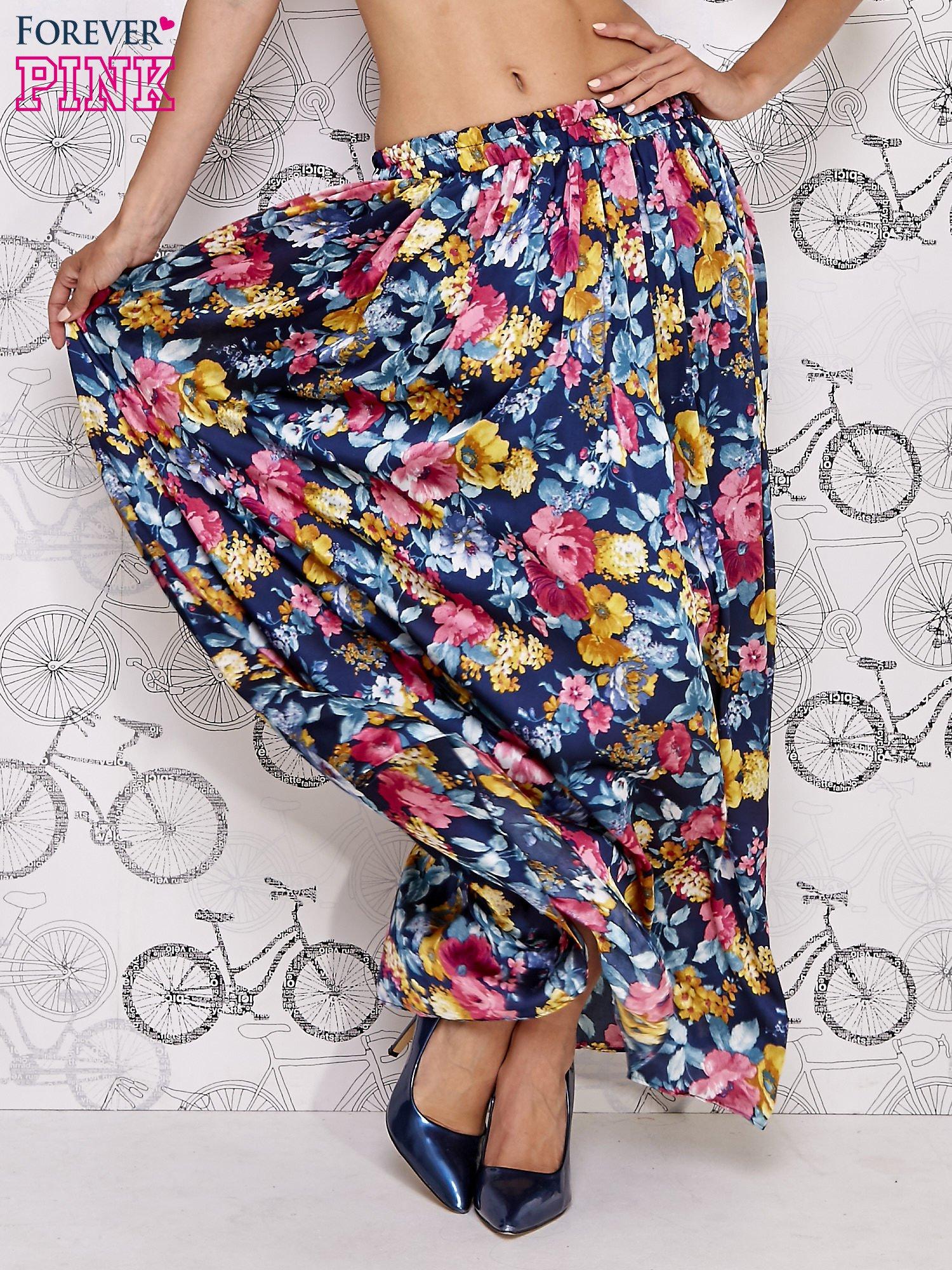 Granatowa spódnica maxi w kwiaty                                  zdj.                                  2