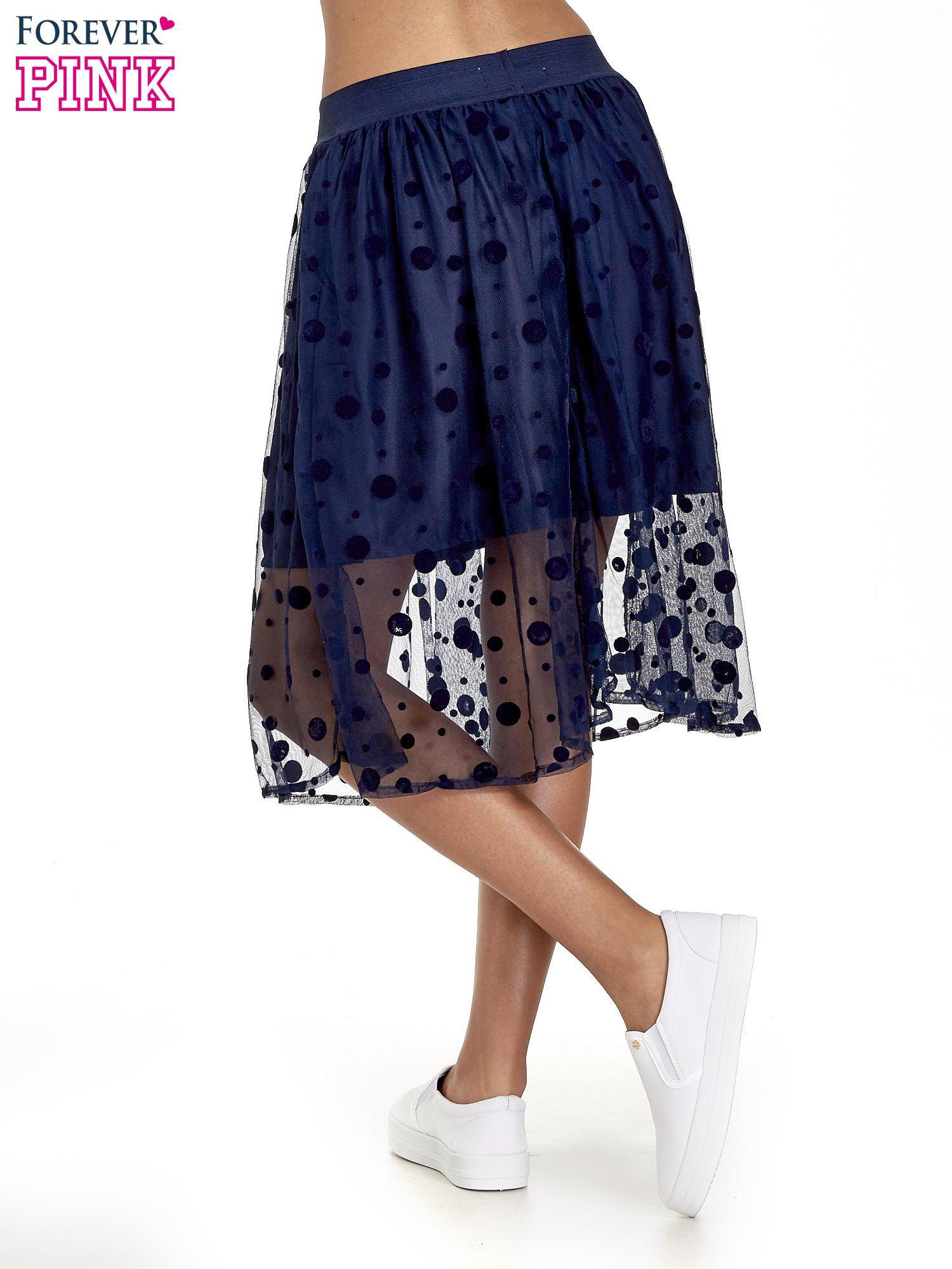 Granatowa spódnica z tiulową warstwą w groszki                                  zdj.                                  4