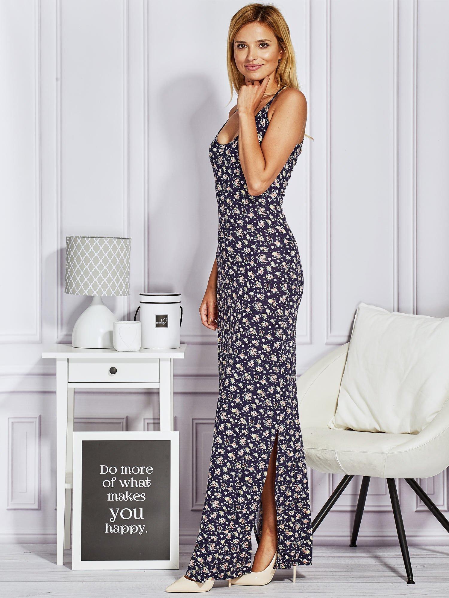 Granatowa sukienka maxi na ramiączkach w łączkę                                  zdj.                                  2
