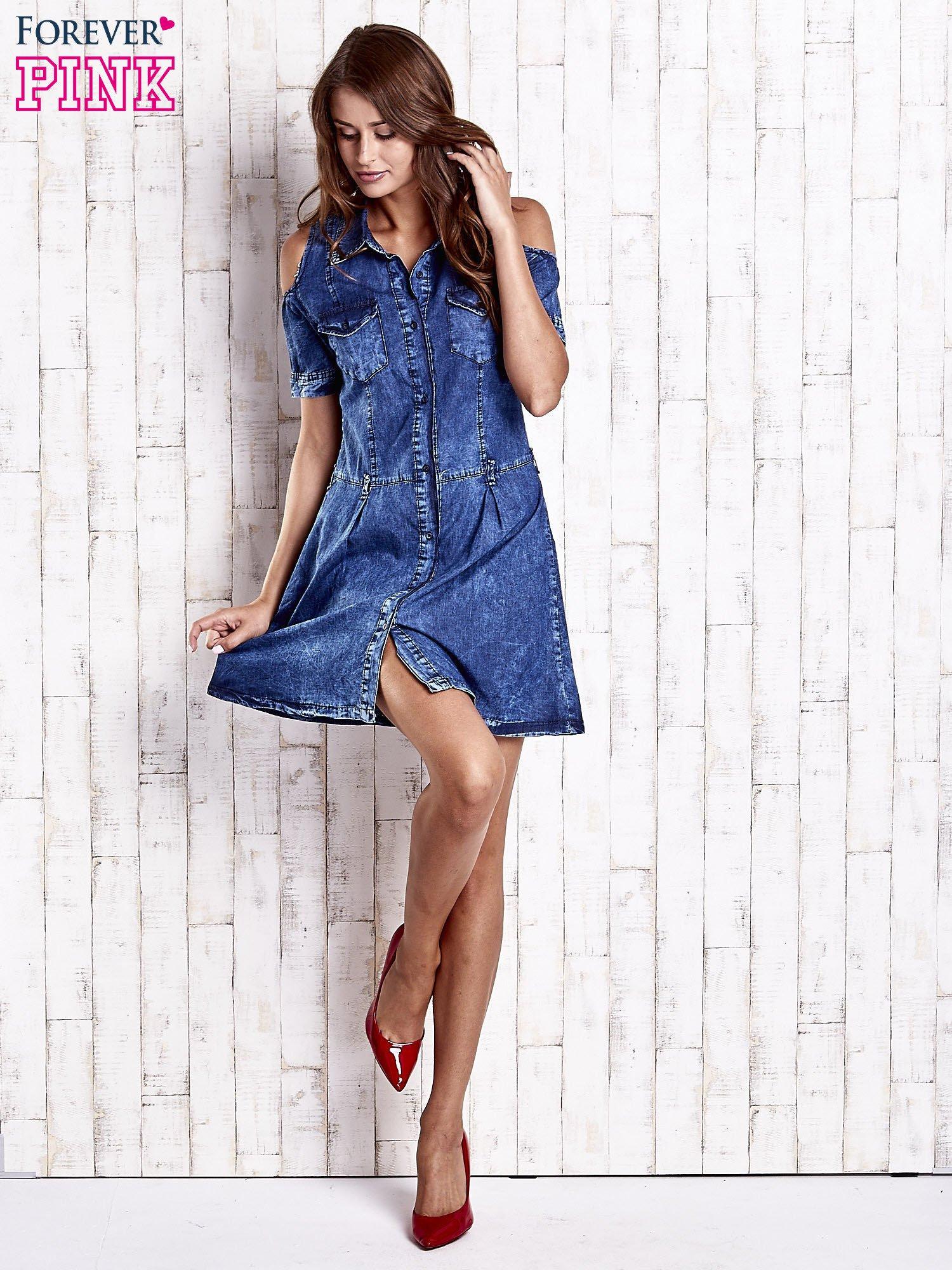 Granatowa sukienka z rękawami cut out                                  zdj.                                  2
