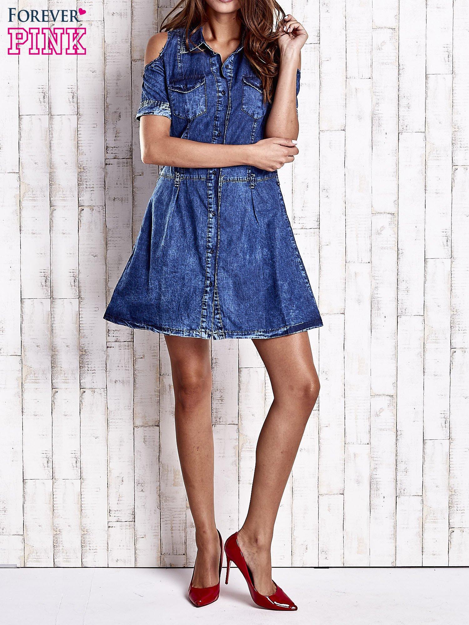 Granatowa sukienka z rękawami cut out                                  zdj.                                  6