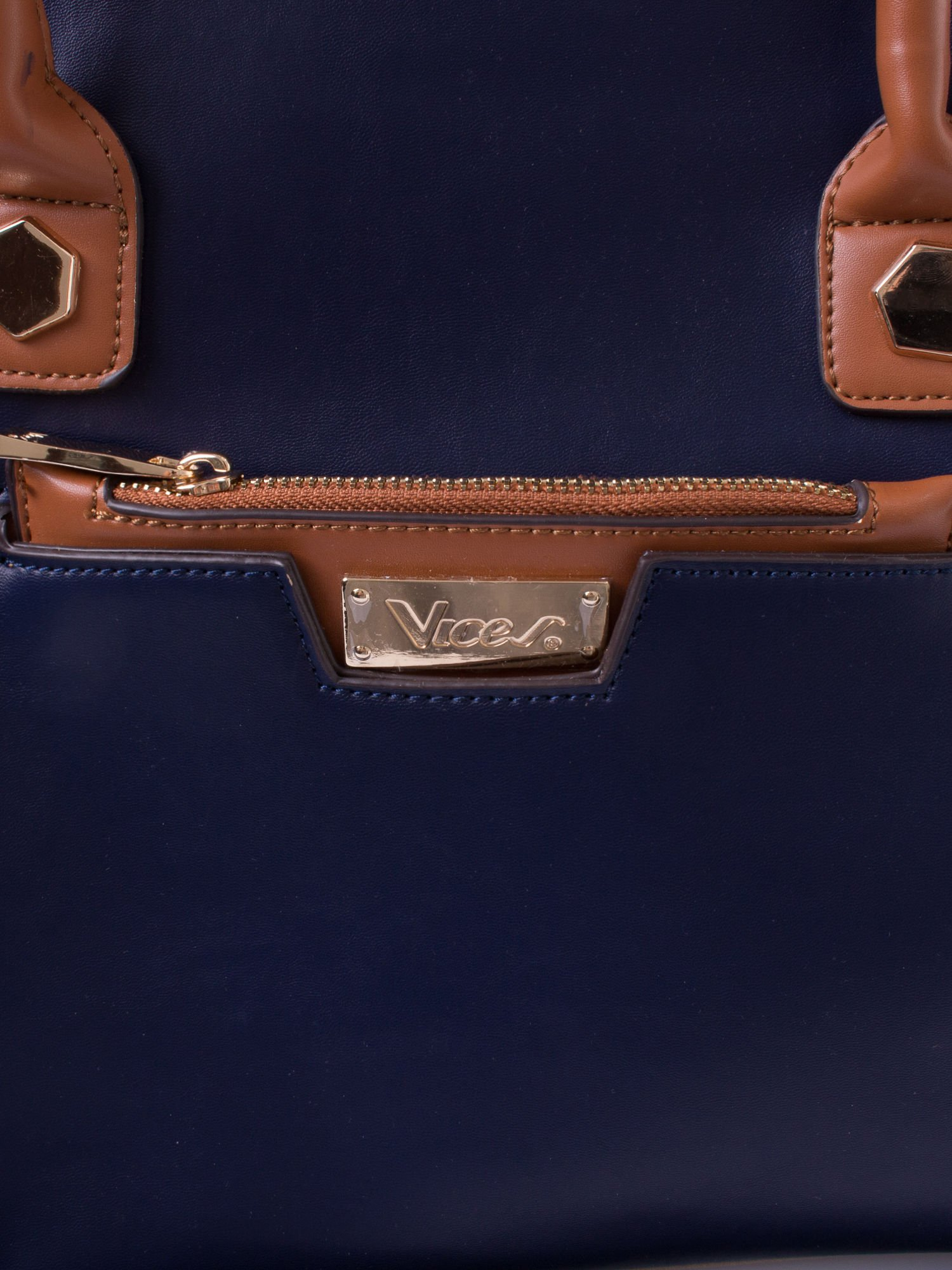Granatowa torba city bag z odpinanym paskiem                                  zdj.                                  5