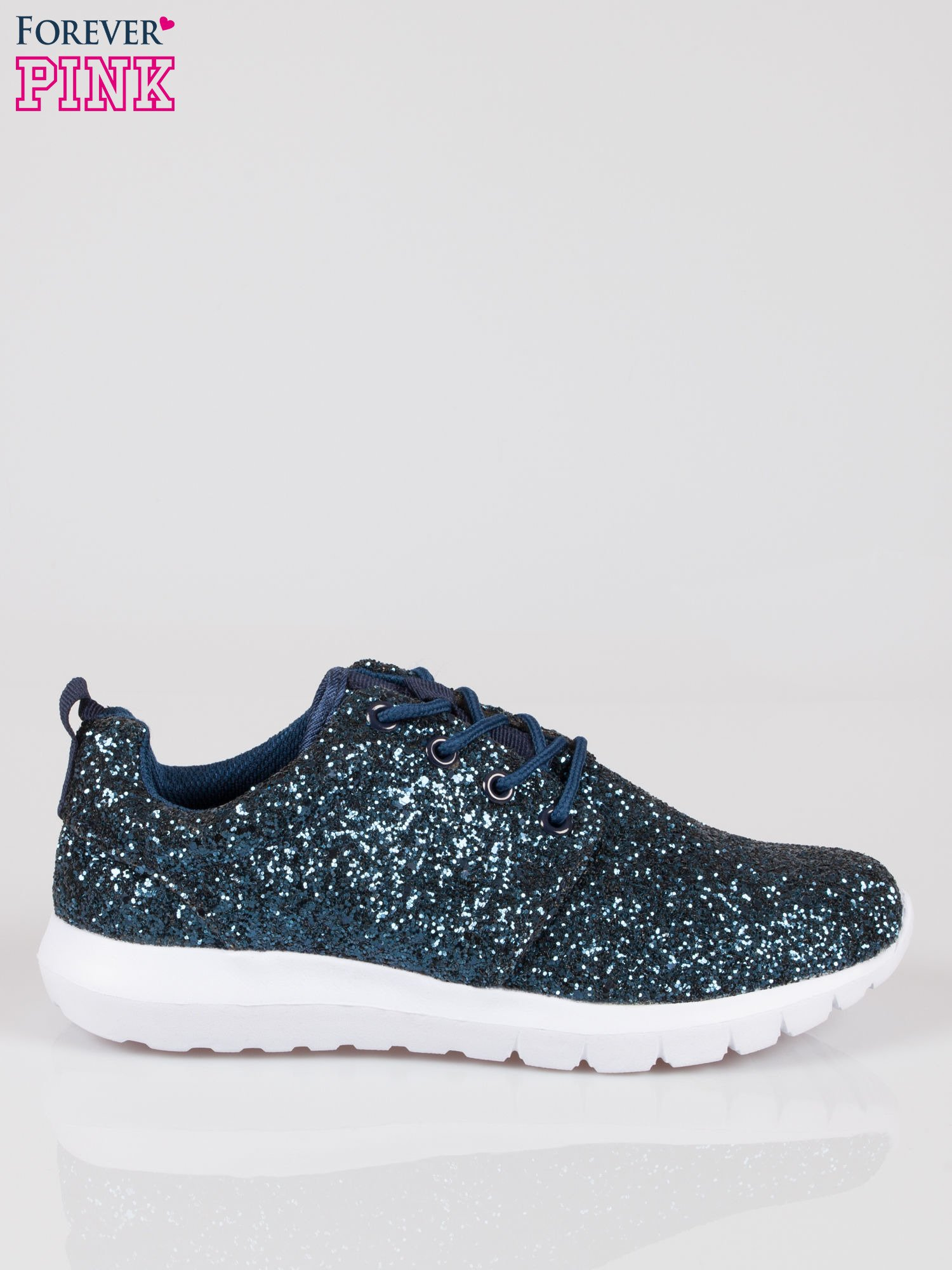 Granatowe buty sportowe textile Crummy z brokatowym efektem                                  zdj.                                  1