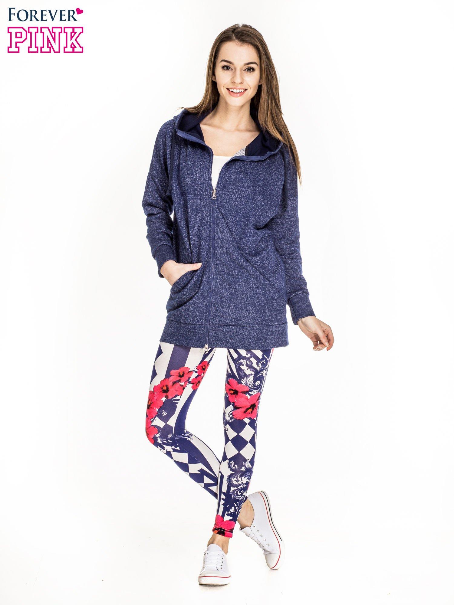 Granatowe legginsy z nadrukiem mix patterns                                  zdj.                                  2