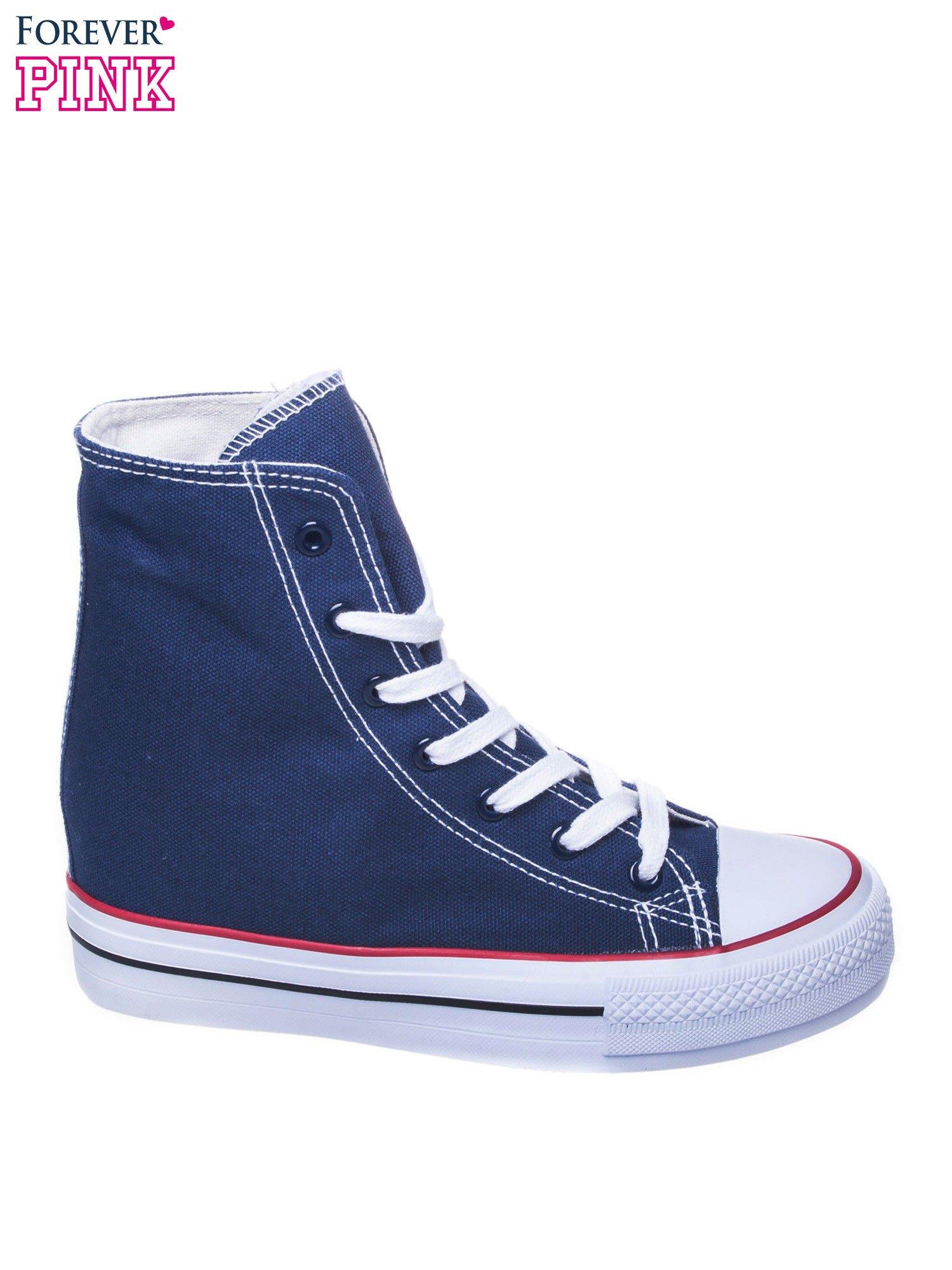 Granatowe sneakersy trampki damskie na koturnie                                  zdj.                                  1