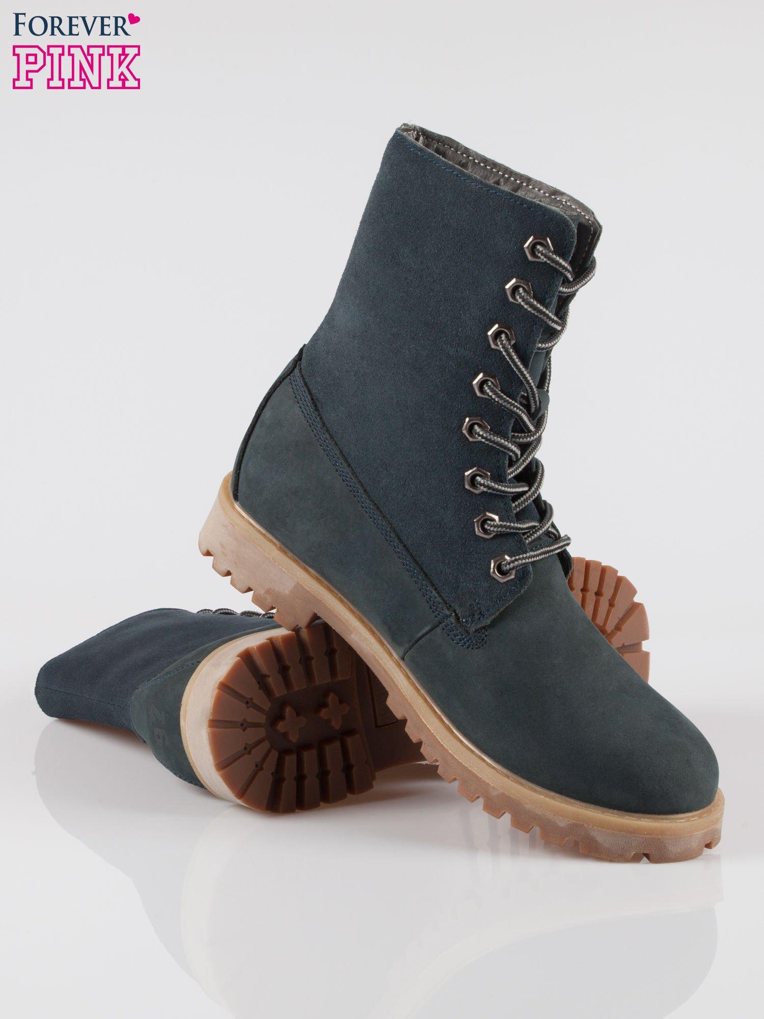 Granatowe wysokie buty trekkingowe traperki damskie ze skóry naturalnej                                  zdj.                                  4