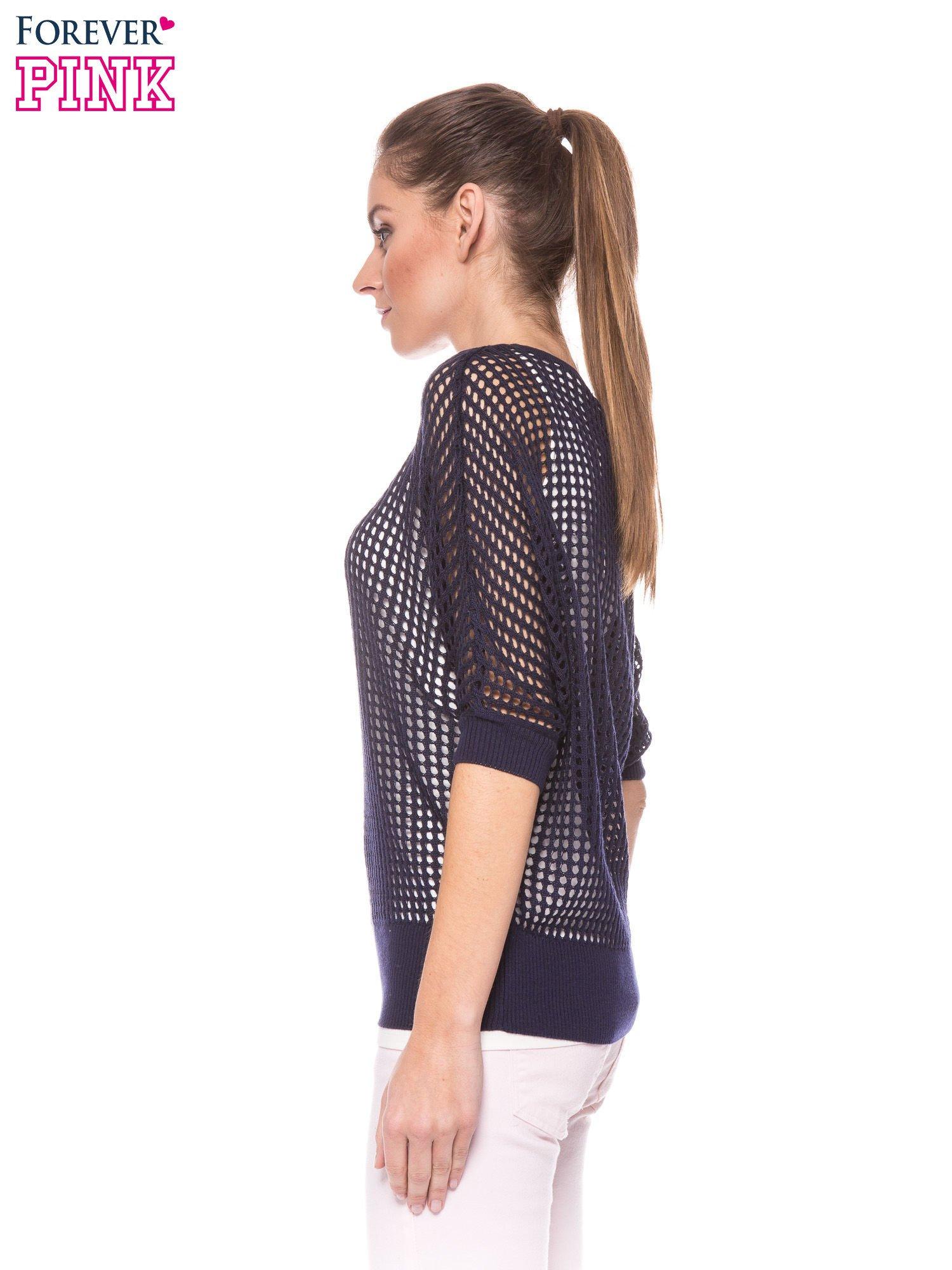 Granatowy ażurowy sweter oversize                                  zdj.                                  3