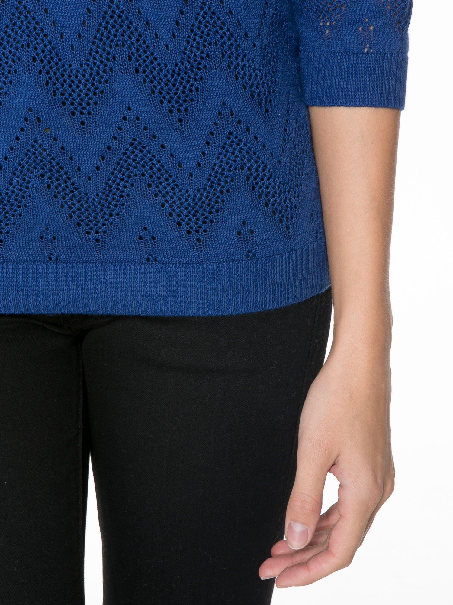 Granatowy ażurowy sweterek z rękawem 3/4                                  zdj.                                  6