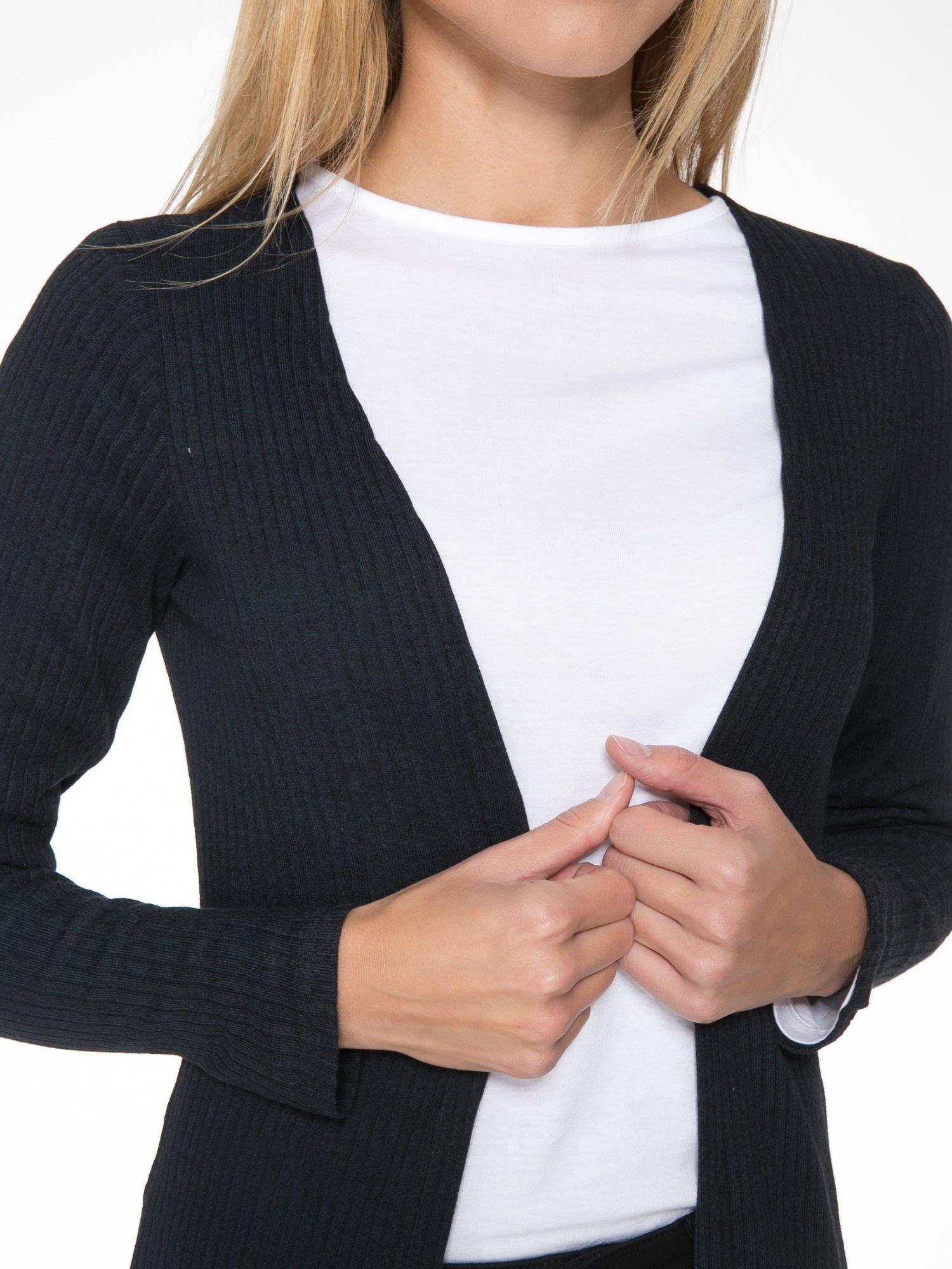 Granatowy długi prążkowany sweter kardigan                                  zdj.                                  6