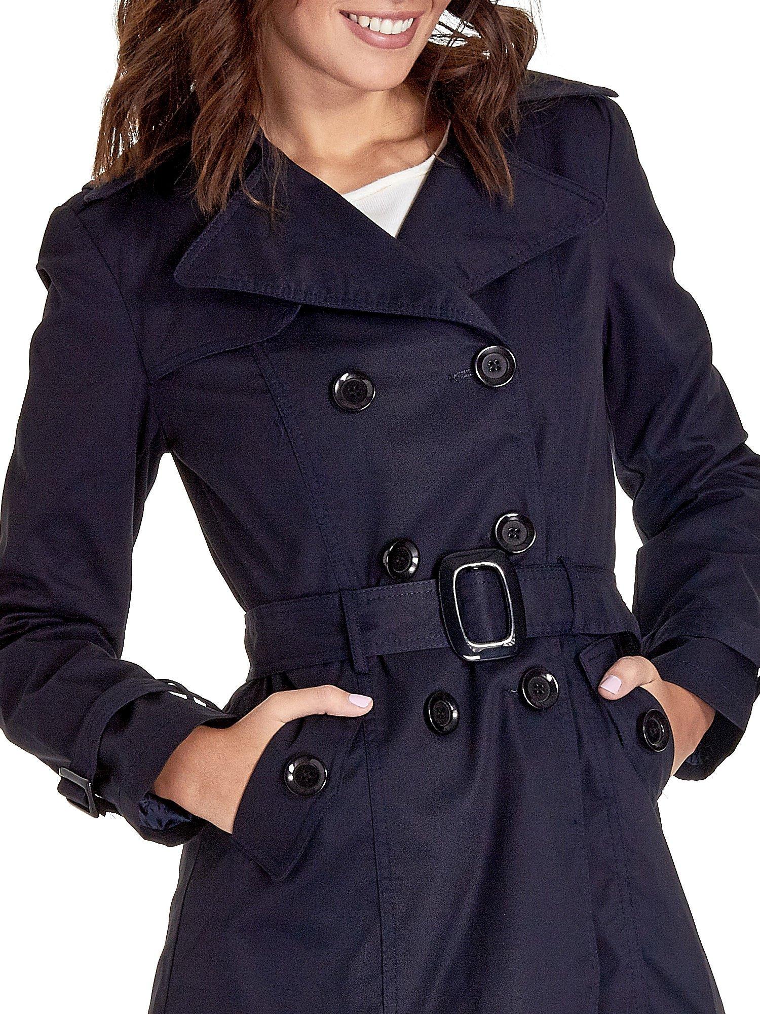 Granatowy klasyczny płaszcz typu trencz                                  zdj.                                  5