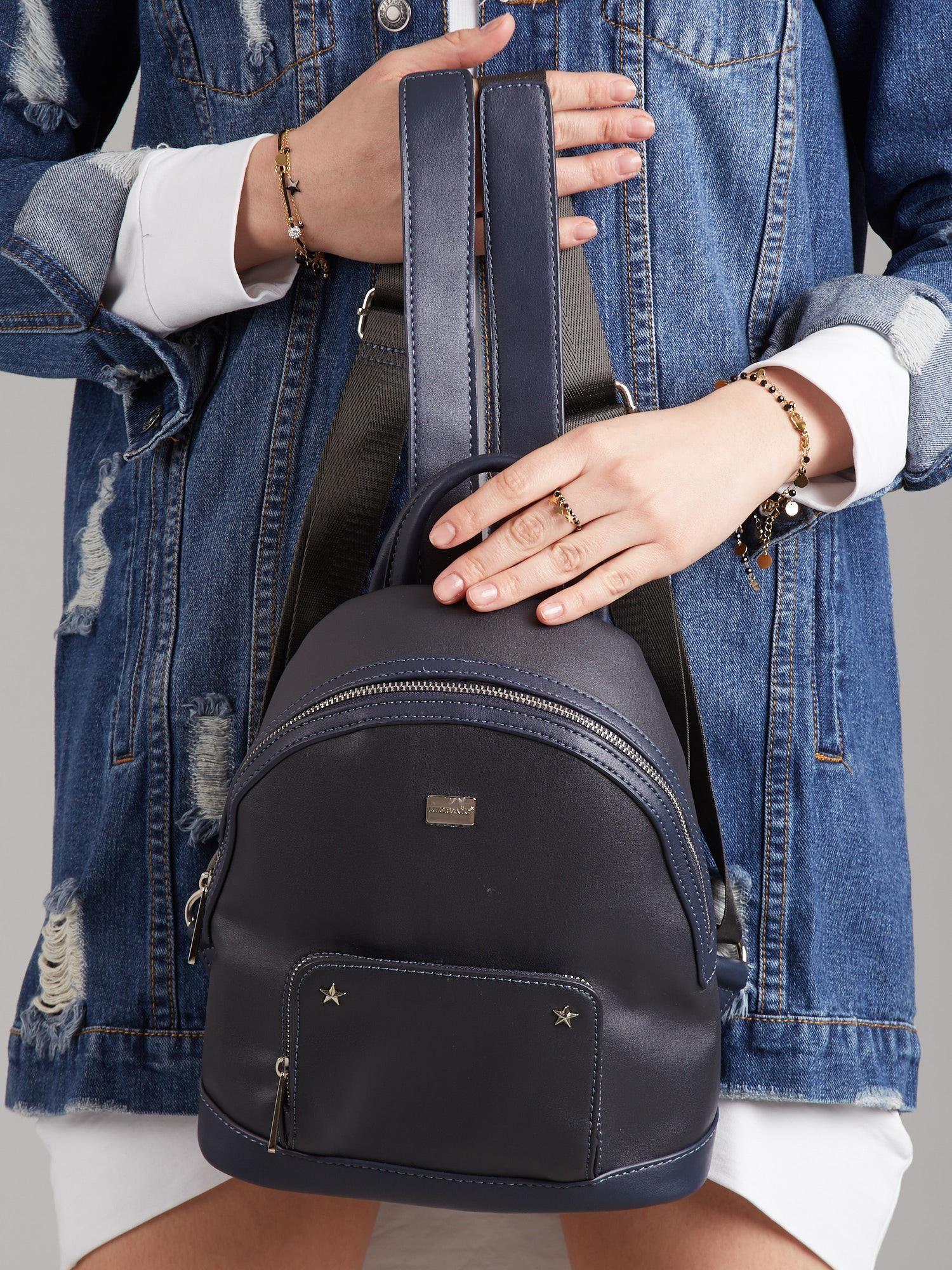 613e96160446a Granatowy plecak damski z eko skóry - Akcesoria plecaki - sklep ...