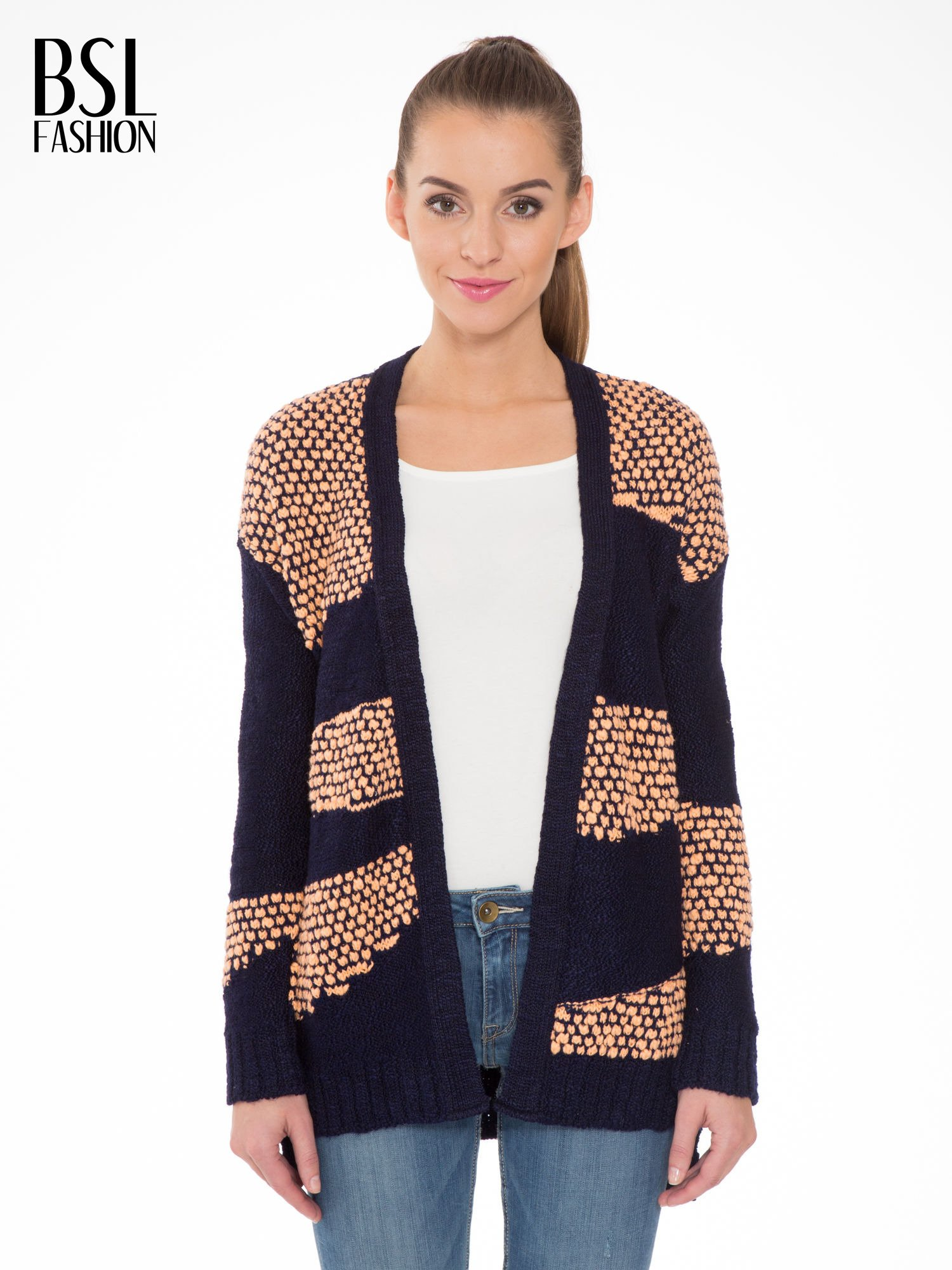 Granatowy sweter typu otwarty kardigan z ozdobnym ściegiem                                  zdj.                                  1