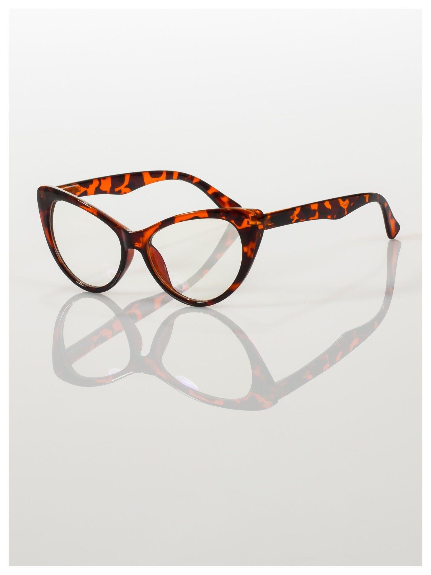 HIT 2016 Modne okulary zerówki typu KOCIE OCZY w stylu Marlin Monroe; soczewki ANTYREFLEKS+system FLEX na zausznikach                                  zdj.                                  3