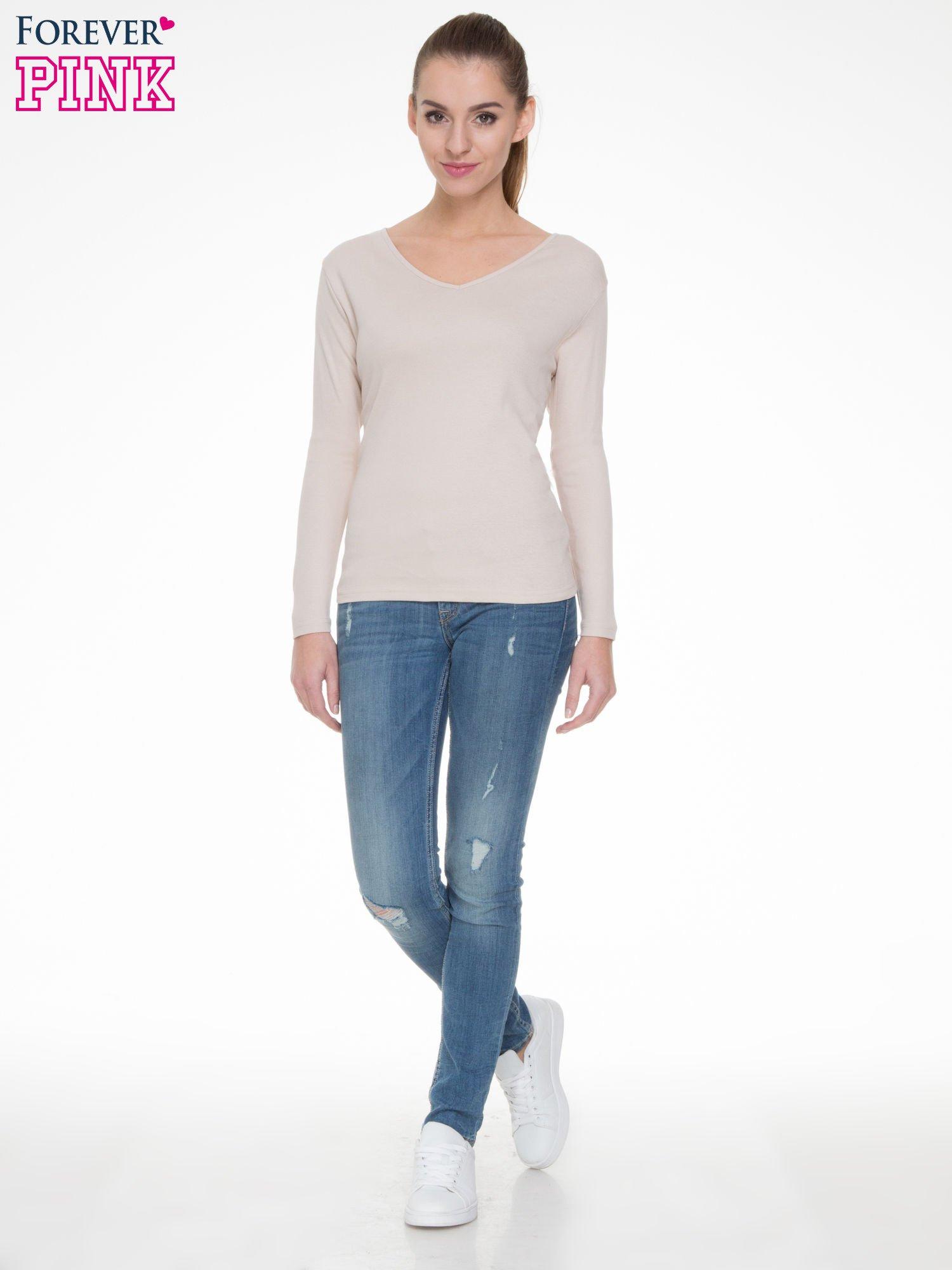 Jasnobeżowa bluzka z długim rękawem z bawełny                                  zdj.                                  2