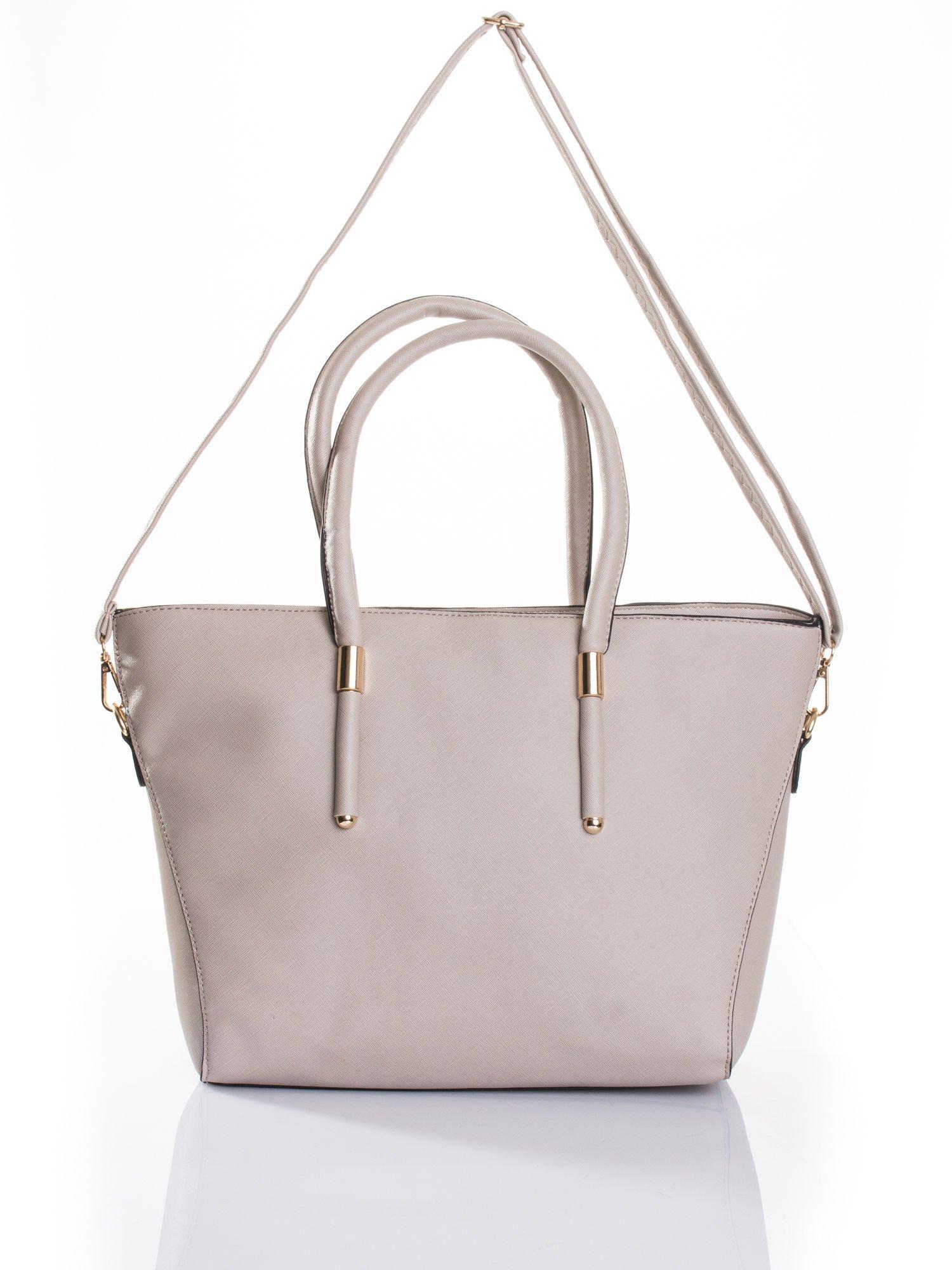 Jasnobeżowa torba shopper efekt saffiano                                  zdj.                                  4