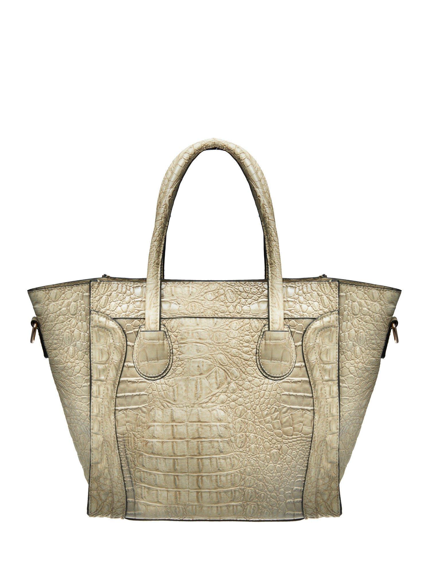 Jasnobeżowa trapezowa torba miejska z efektem skóry krokodyla                                  zdj.                                  2