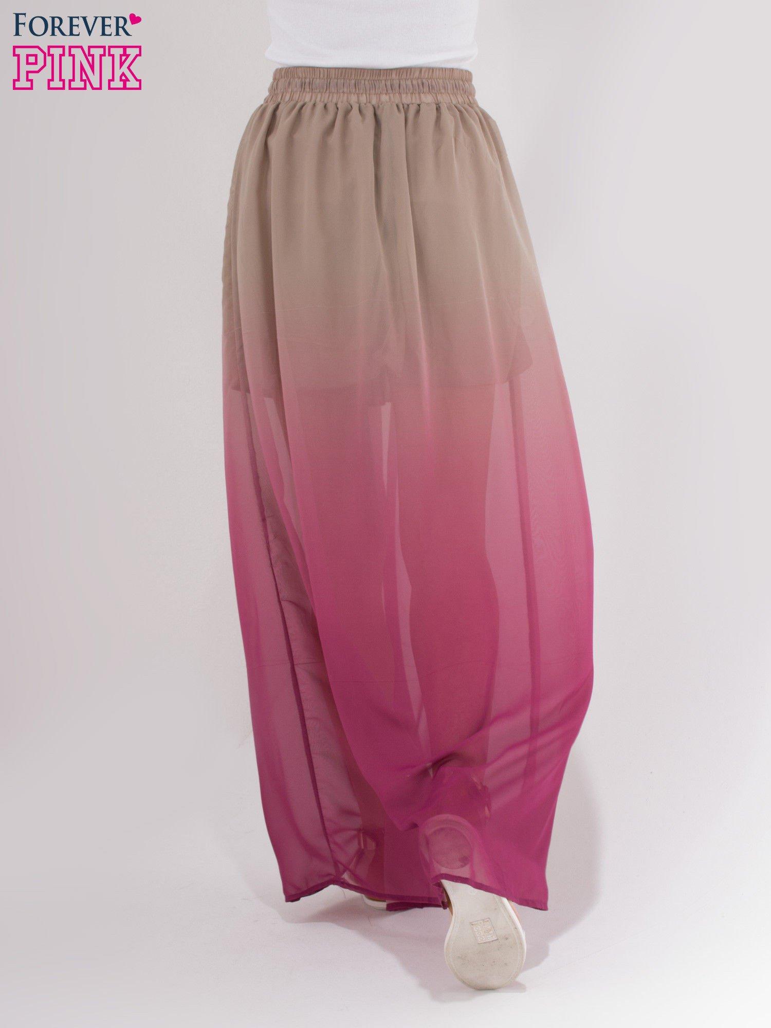 Jasnobrązowa długa spódnica maxi z efektem ombre                                  zdj.                                  3
