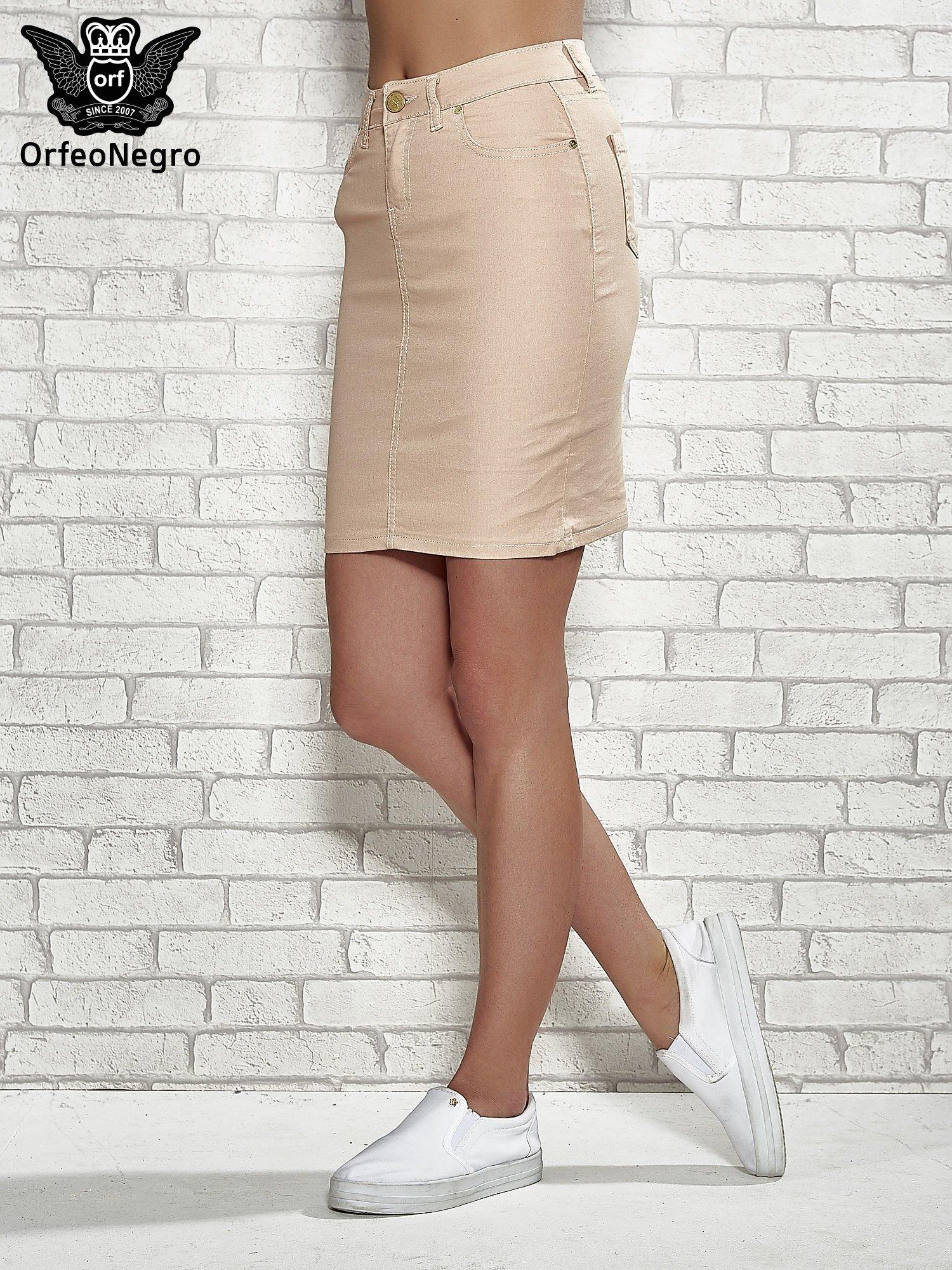 Jasnobrązowa spódnica z zapięciem na guzik                                  zdj.                                  1