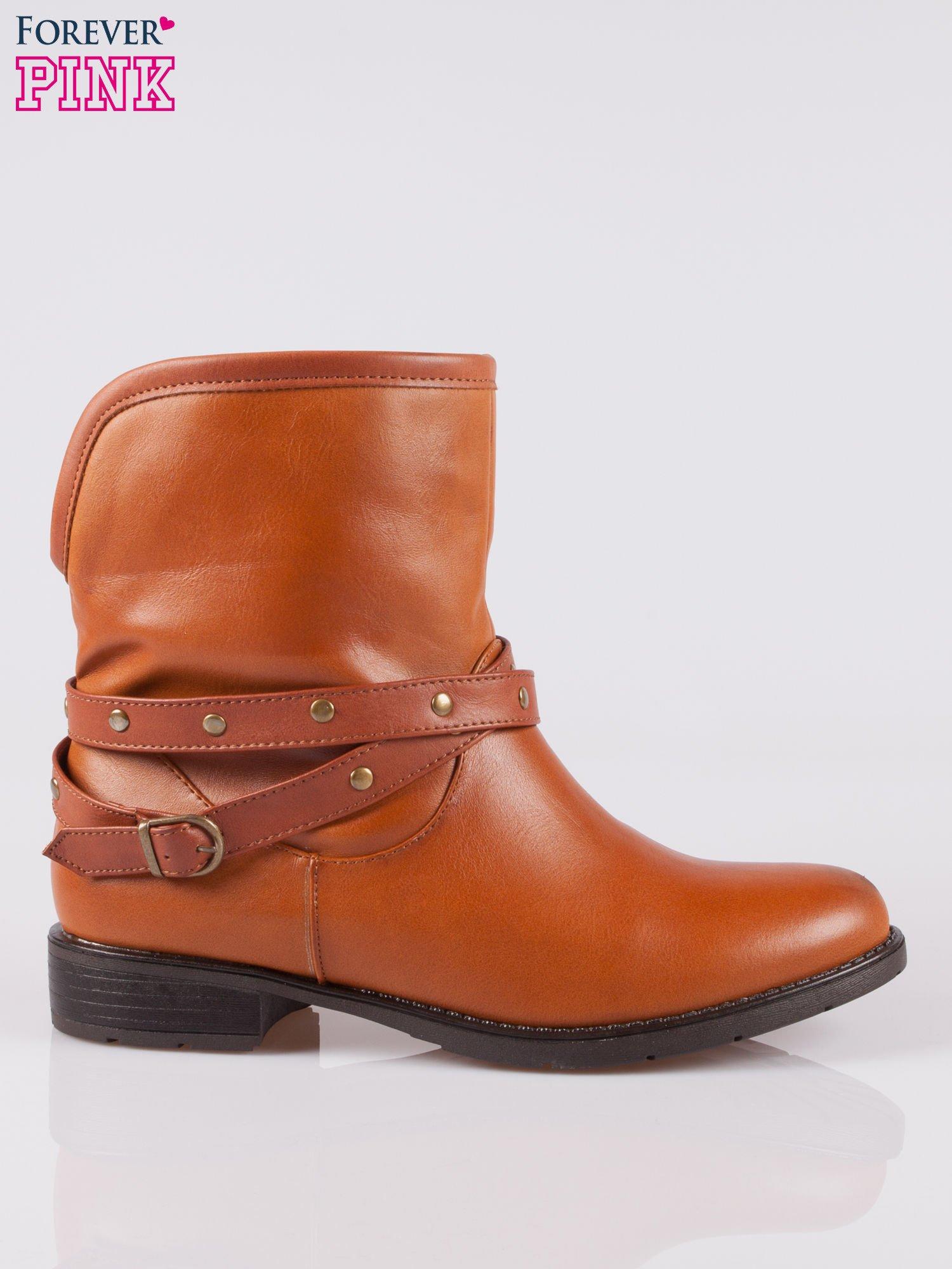 Jasnobrązowe botki w stylu biker boots                                  zdj.                                  1