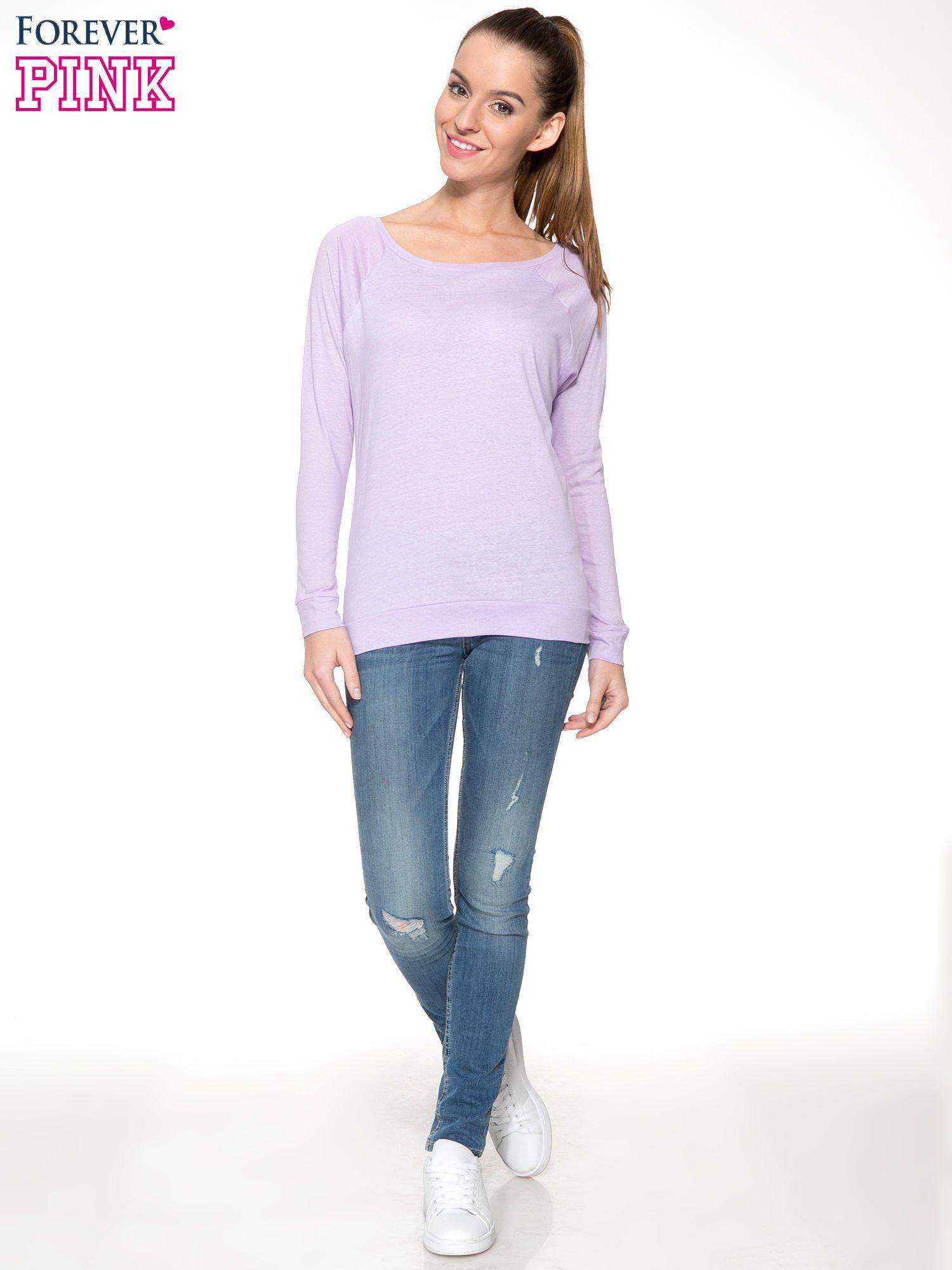 Jasnofioletowa bawełniana bluzka z rękawami typu reglan                                  zdj.                                  2