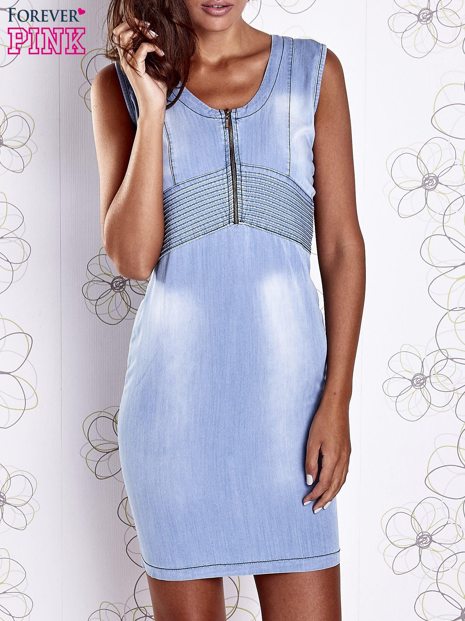 Jasnoniebieska denimowa sukienka z suwakiem                                  zdj.                                  1