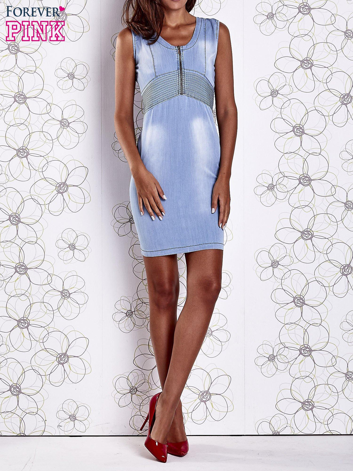 Jasnoniebieska denimowa sukienka z suwakiem                                  zdj.                                  9